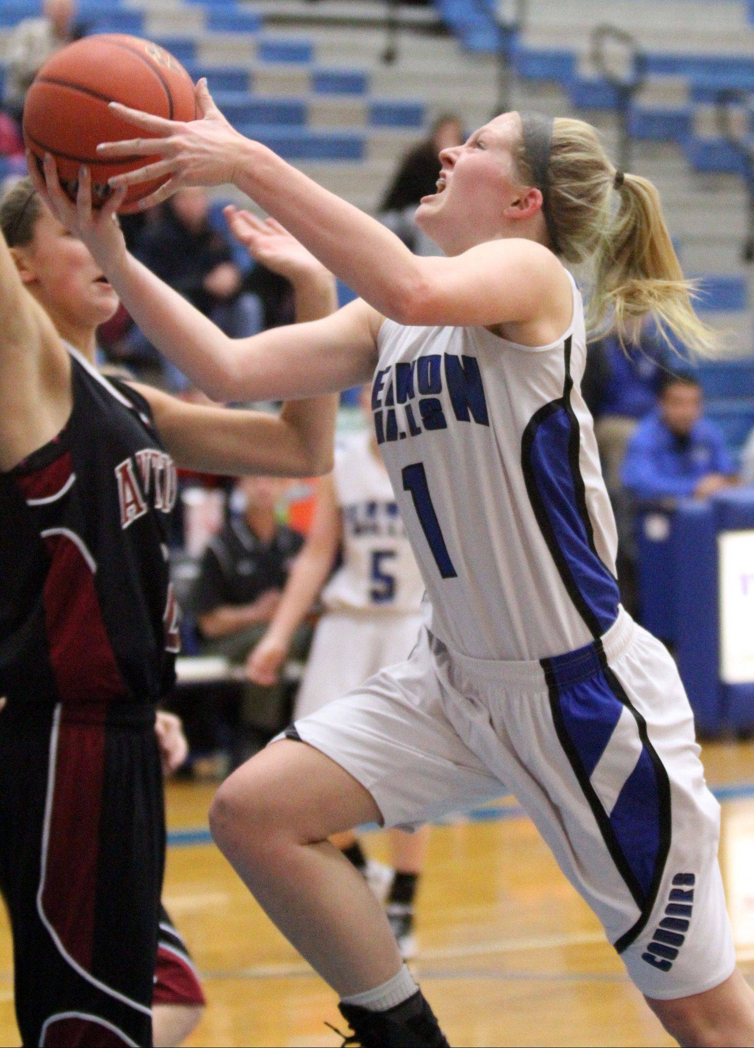 Vernon Hills' Sydney Smith drives in for a layup during Saturday's game against Antioch.