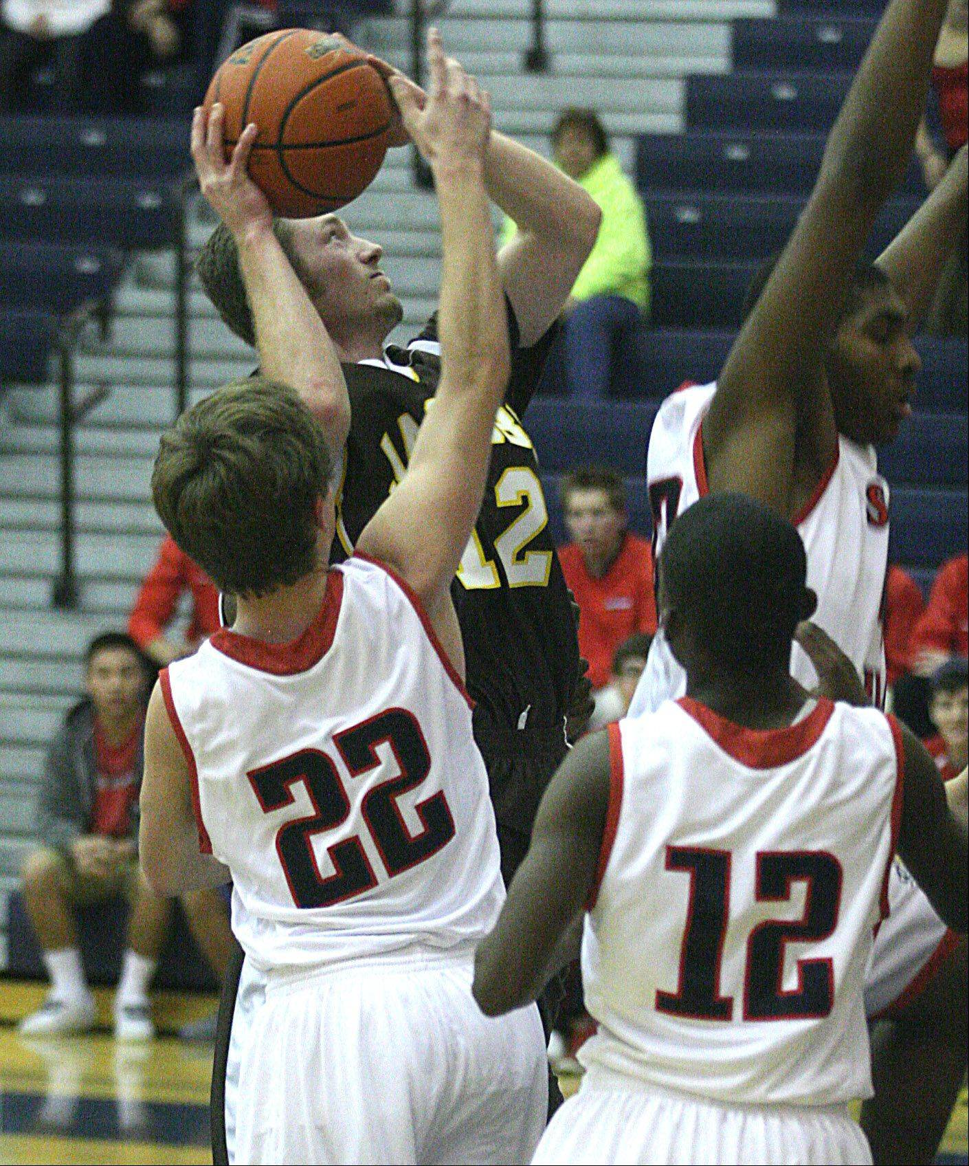 Jacobs' Jon Berndt takes a shot at South Elgin on Tuesday night.