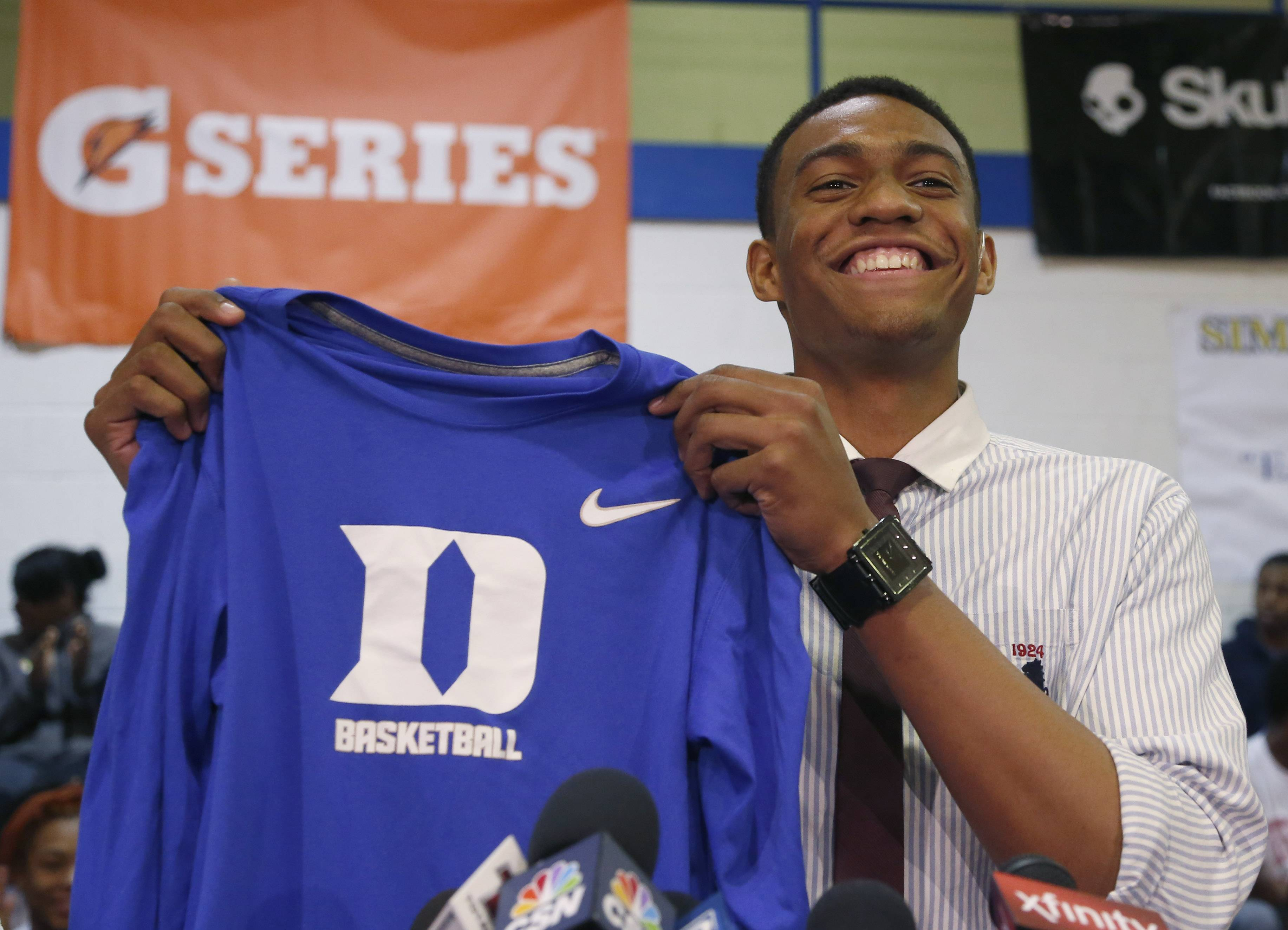 Chicago's Simeon Career Academy's Jabari Parker announces Thursday he will be attending Duke during a news conference at his high school.
