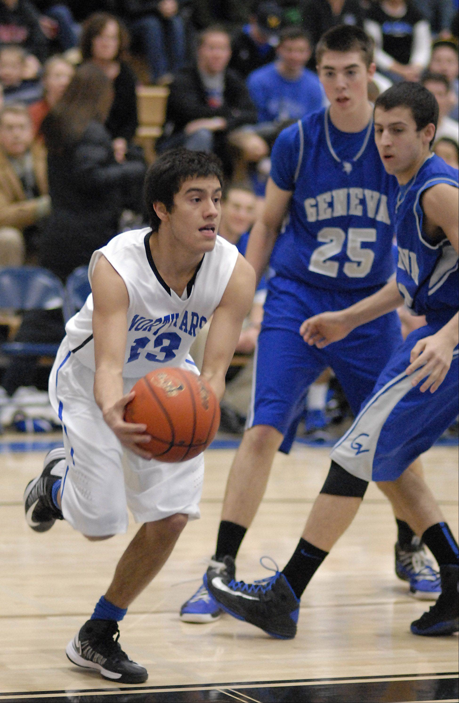 Images from the Geneva vs. St. Charles North boys basketball game Friday, December 21, 2012.