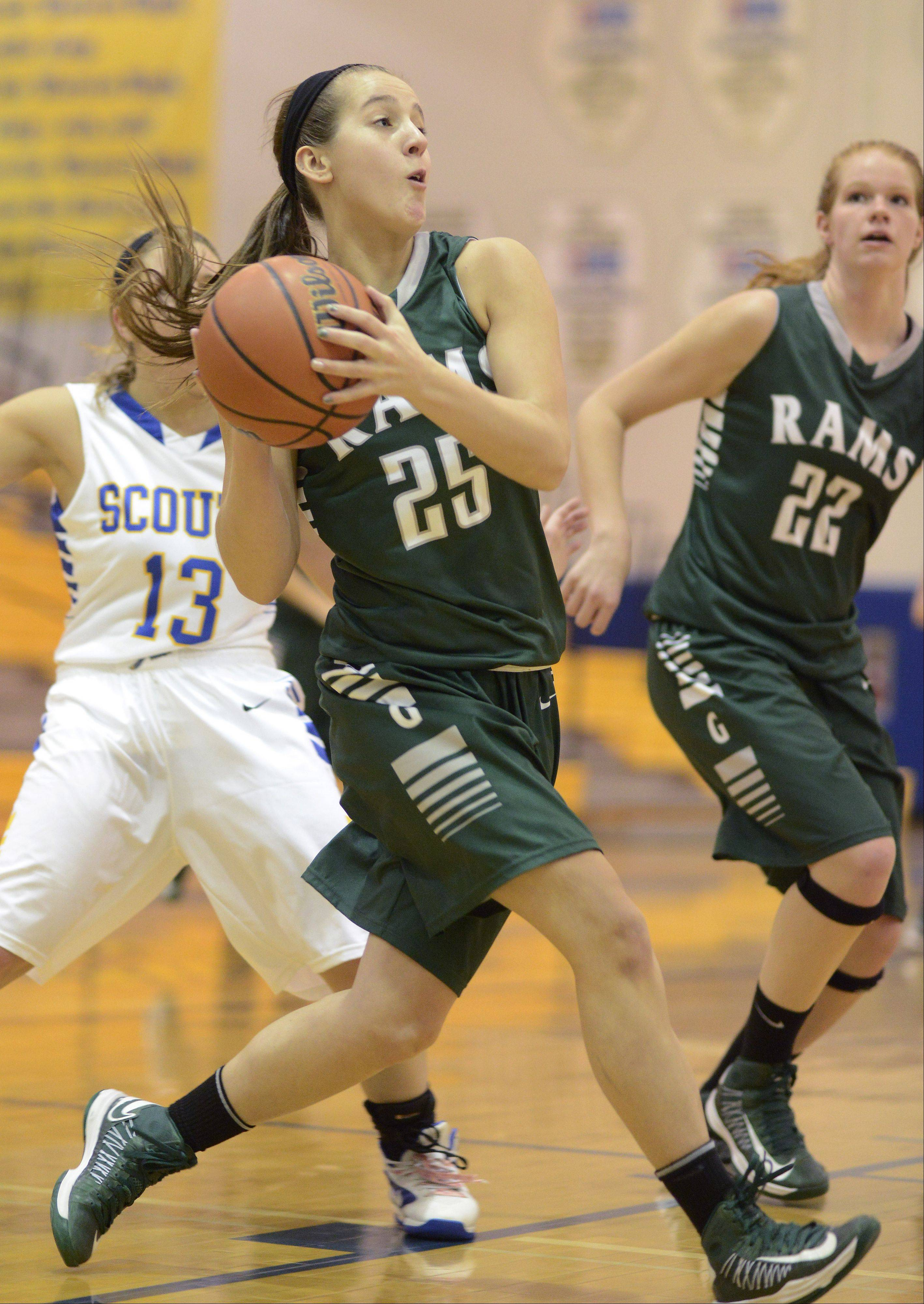 Grayslake Central's Taylor Peterson drives to the basket against Lake Forest during Saturday's game at Warren.
