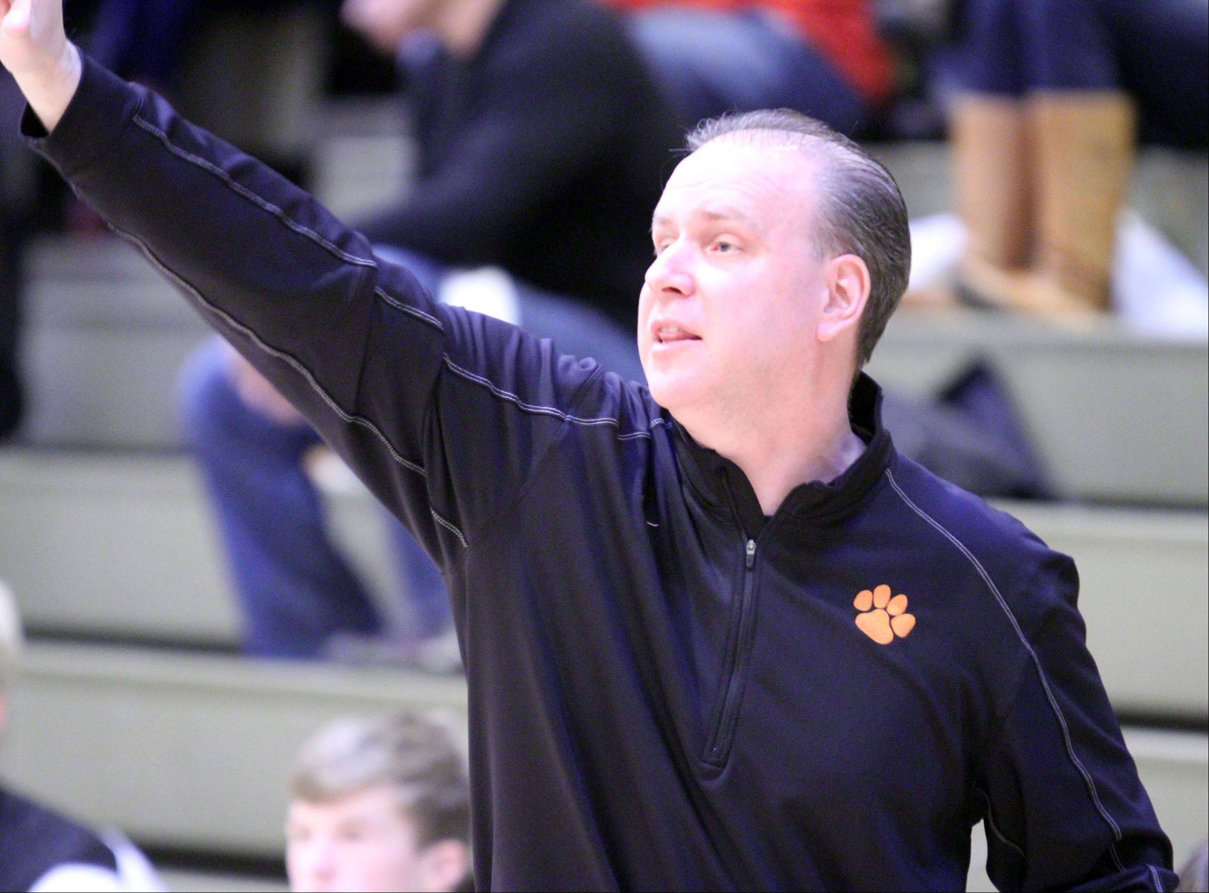 Libertyville coach Scott Bogumil against St. Viator on Wednesday in Wheeling.
