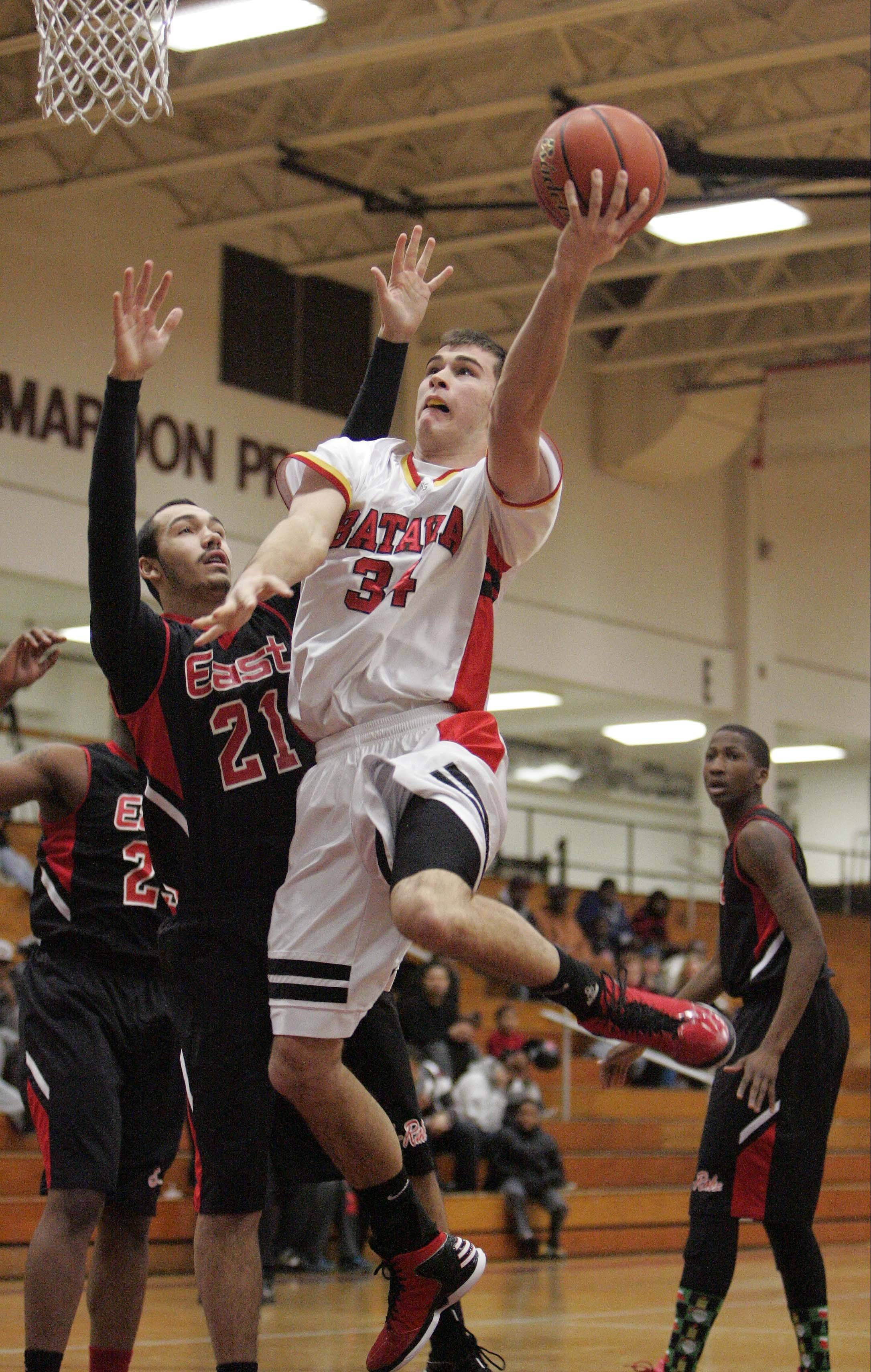 Batavia's Zach Strittmatter drives against Rockford East Thursday at the Elgin Holiday Tournament.