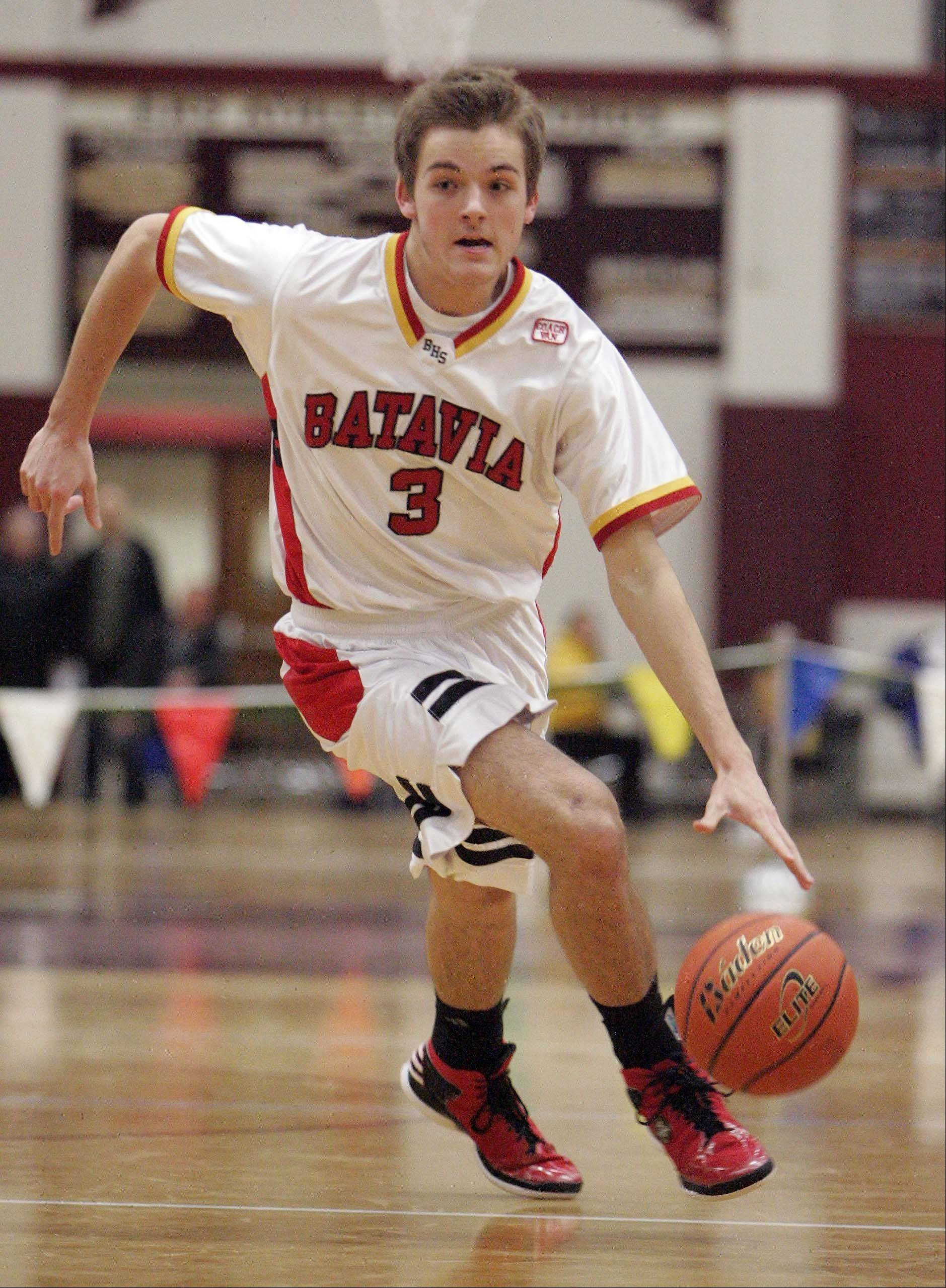 Batavia's Jake Pollack drives against Rockford East.