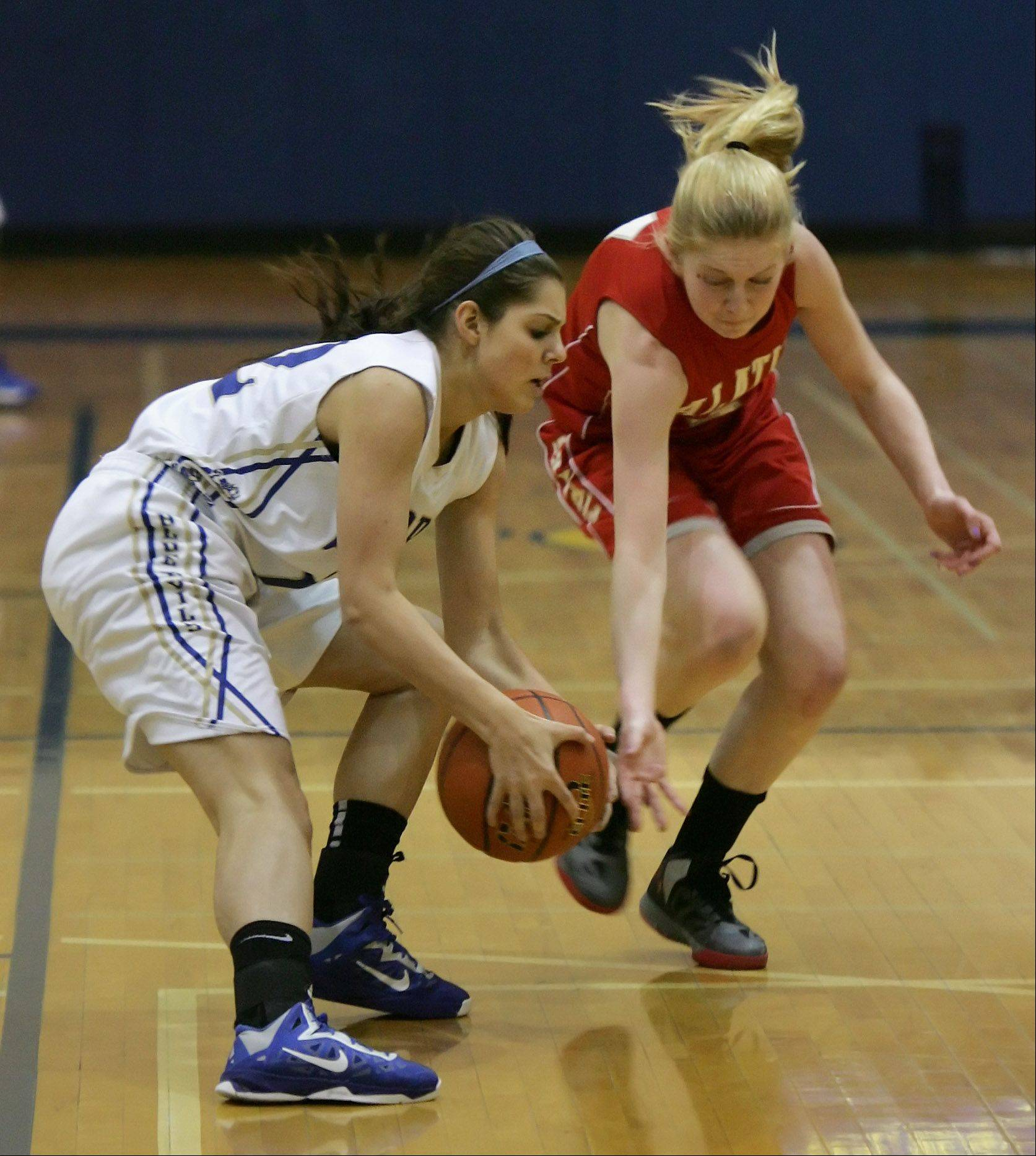 Warren guard Cassie Christie takes the ball away from Palatine guard Morgan Radtke during the Palatine at Warren girls high school basketball game in the Blue Devil Classic Thursday at Warren High School in Gurnee.