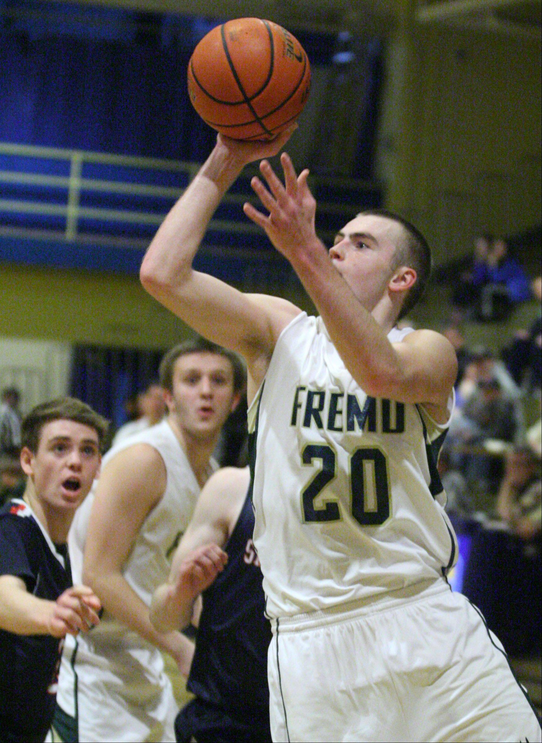 Fremd's Riley Glassmann shoots against St. Viator at the 35th annual Wheeling Wildcat Hardwood Classic on Thursday.