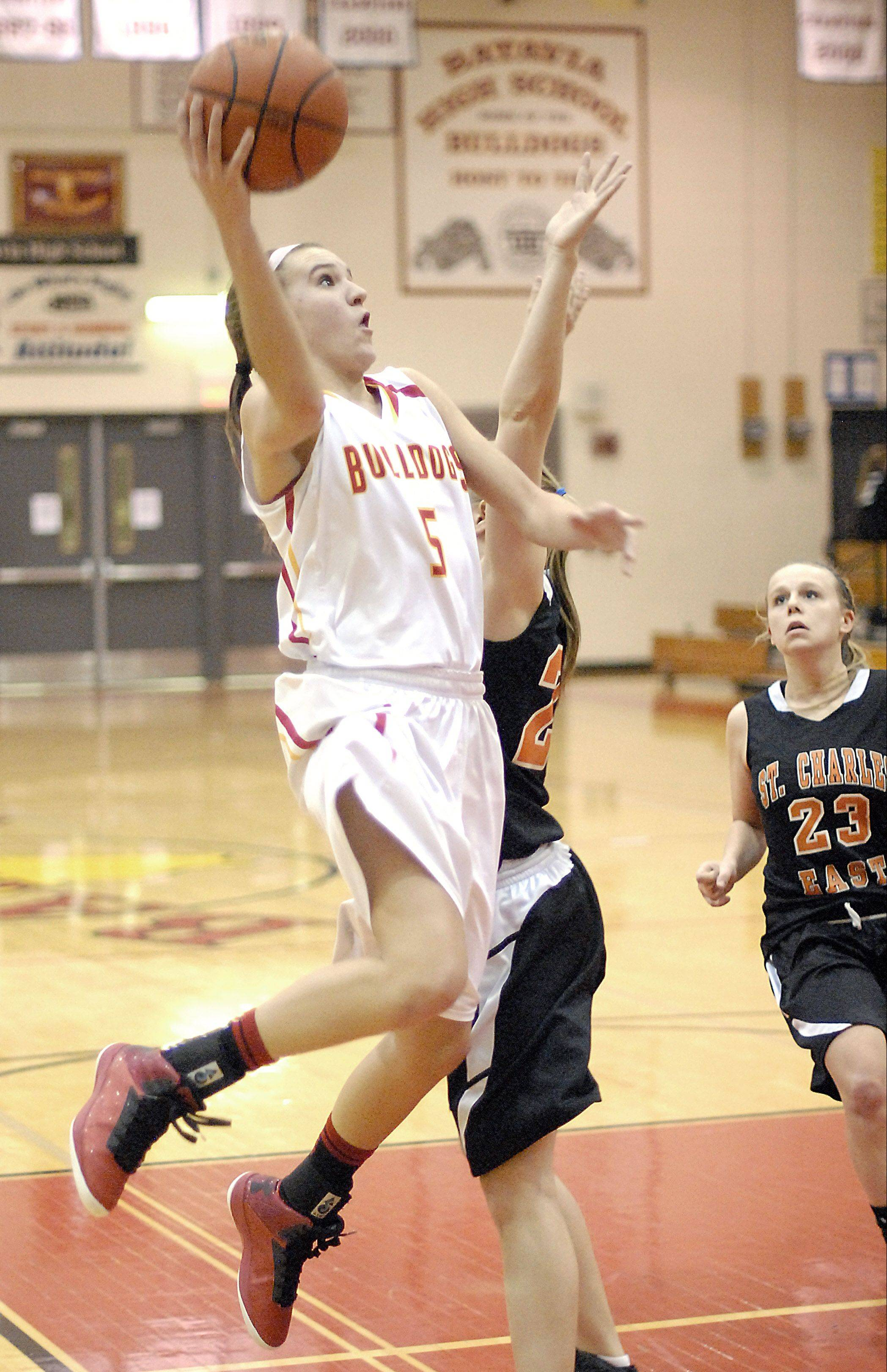 Batavia's Liza Fruendt goes up for 2 of her 28 points in a win over St. Charles East Tuesday in Batavia.
