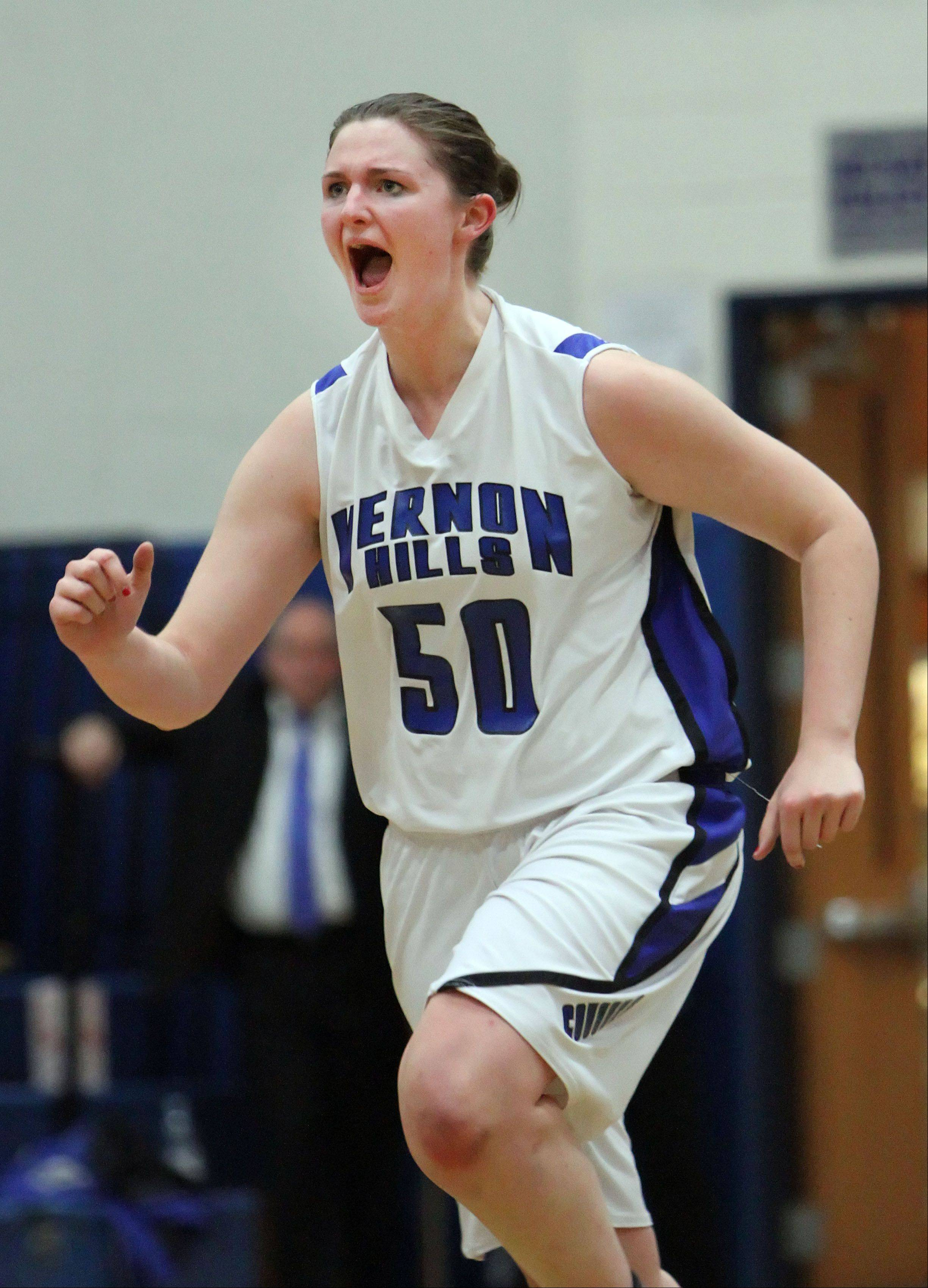 Vernon Hills' Meri Bennett-Swanson celebrates during Tuesday's game against Stevenson.