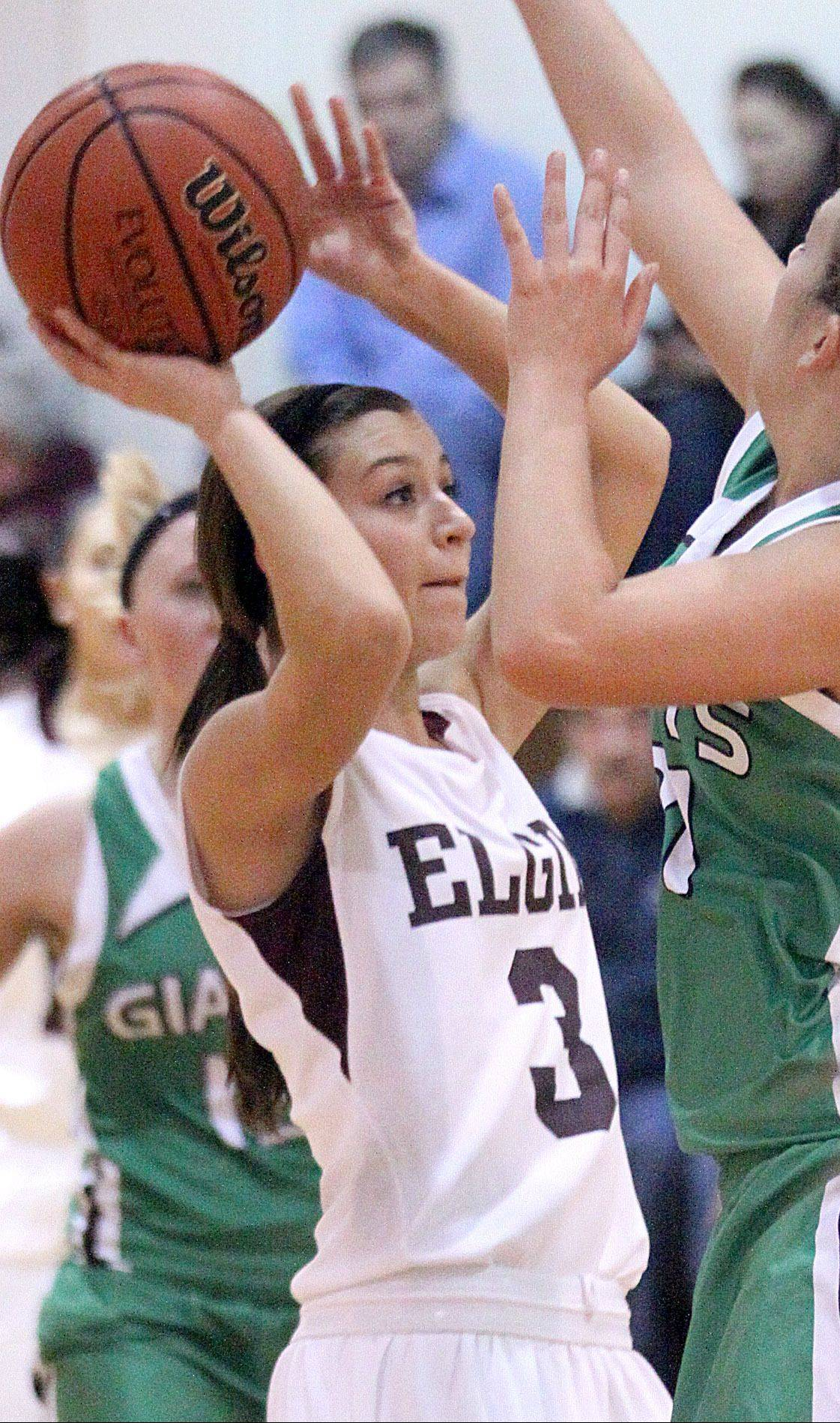 Elgin's Maggie Powers (3) takes a shot against Alden-Hebron earlier this season. The Maroons will take on Larkin tonight at Larkin in the first round of the Elgin City Classic.