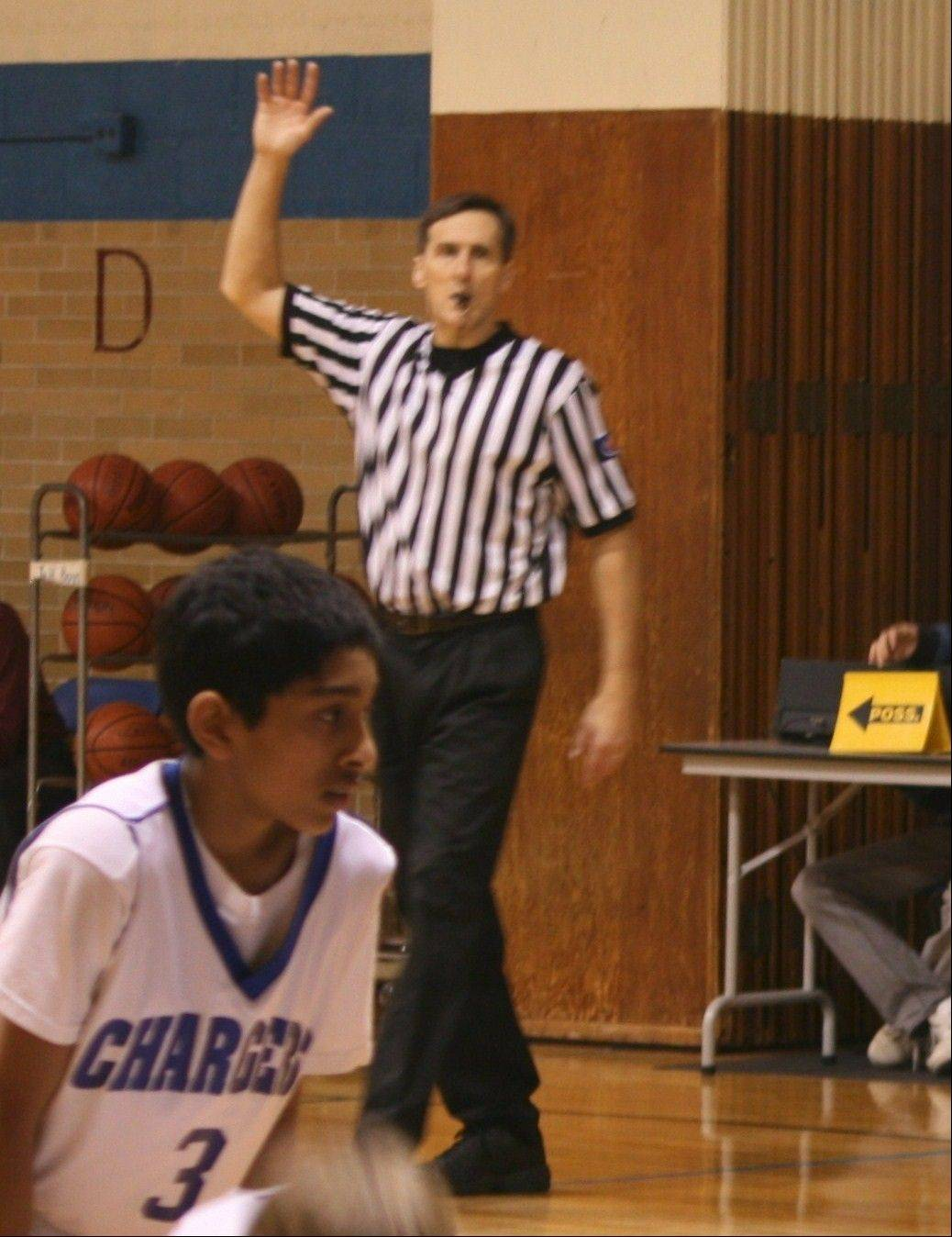 Bill Spicer officiating a game at Christian Liberty Academy.