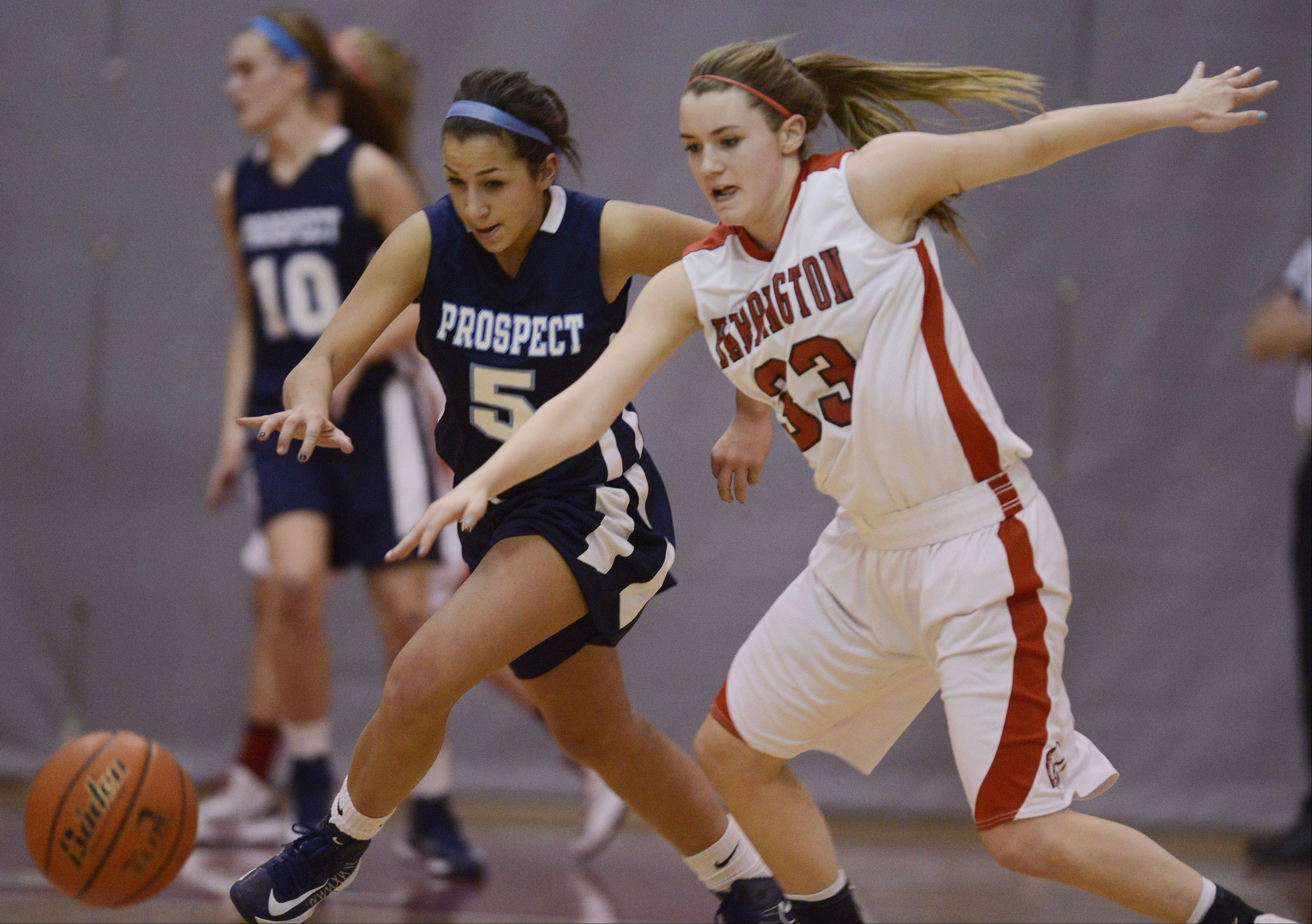 Prospect's Kristen Frasco, left, tries to steal the ball from Barrington's Angie Kirchoff but is called for a foul during Tuesday's game.