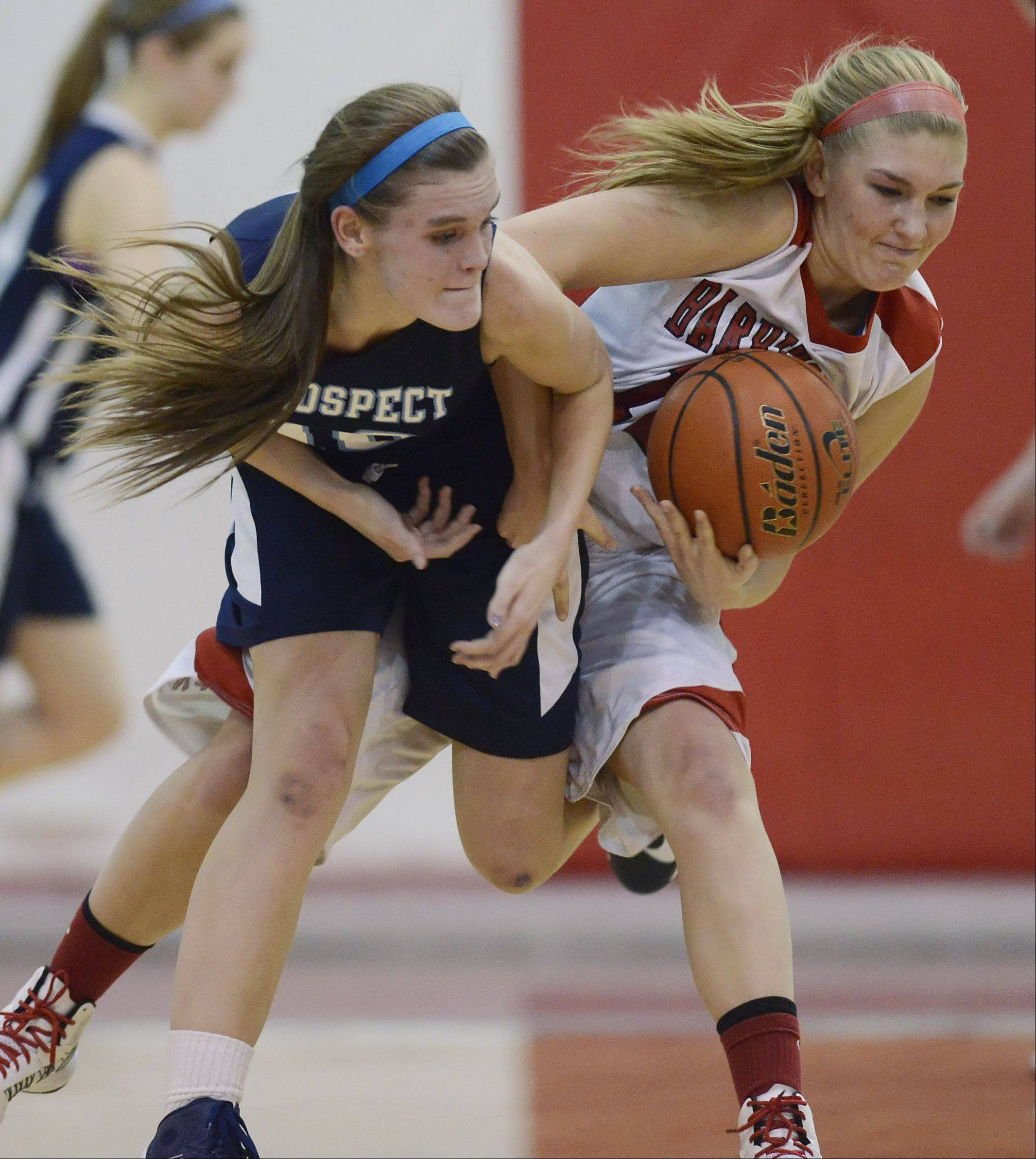 Barrington's Maddie Bartz, right, takes the ball from Prospect's Taylor Will during Tuesday's game.