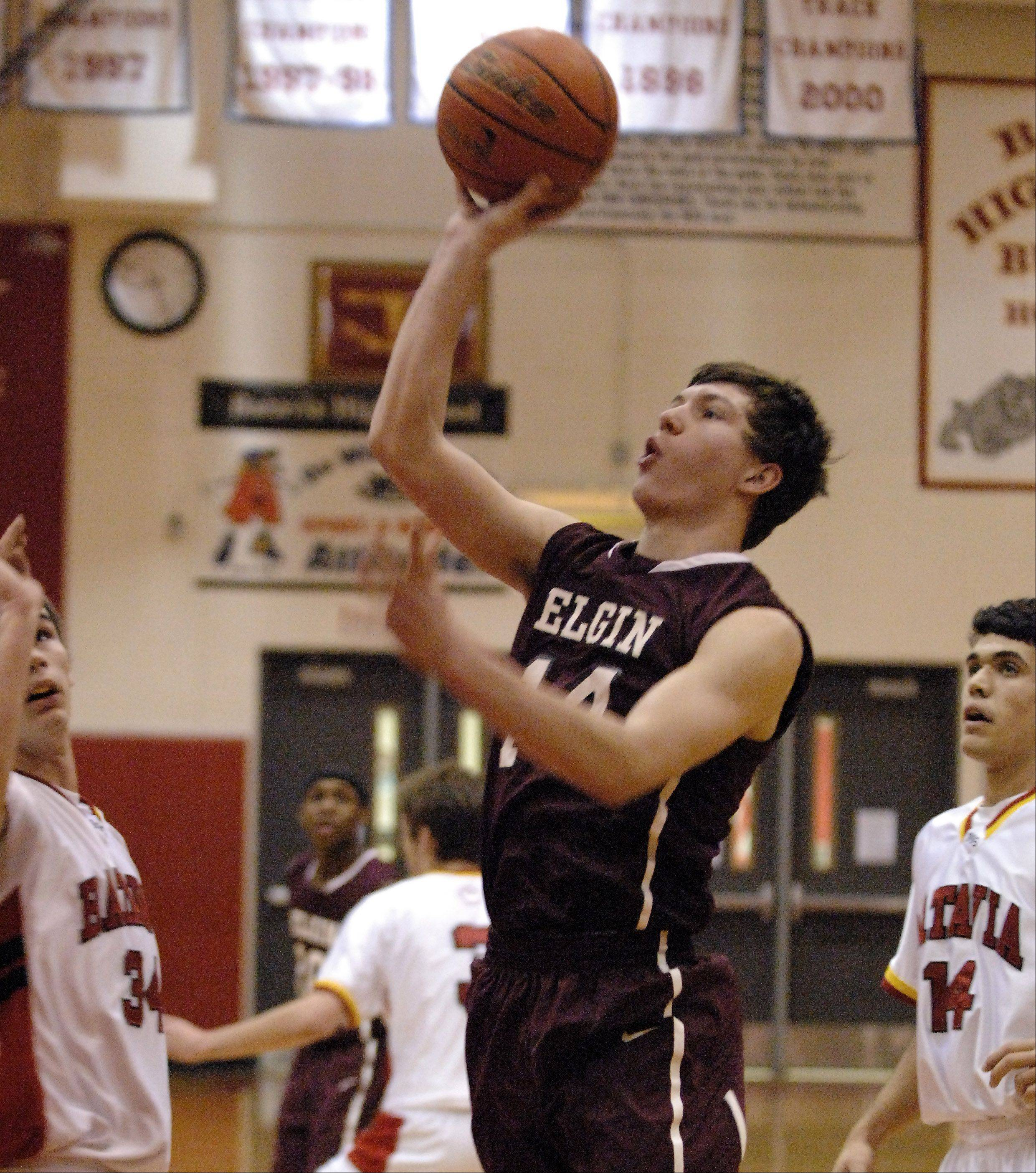 Elgin's Eric Sedlack scores on a short jumper.