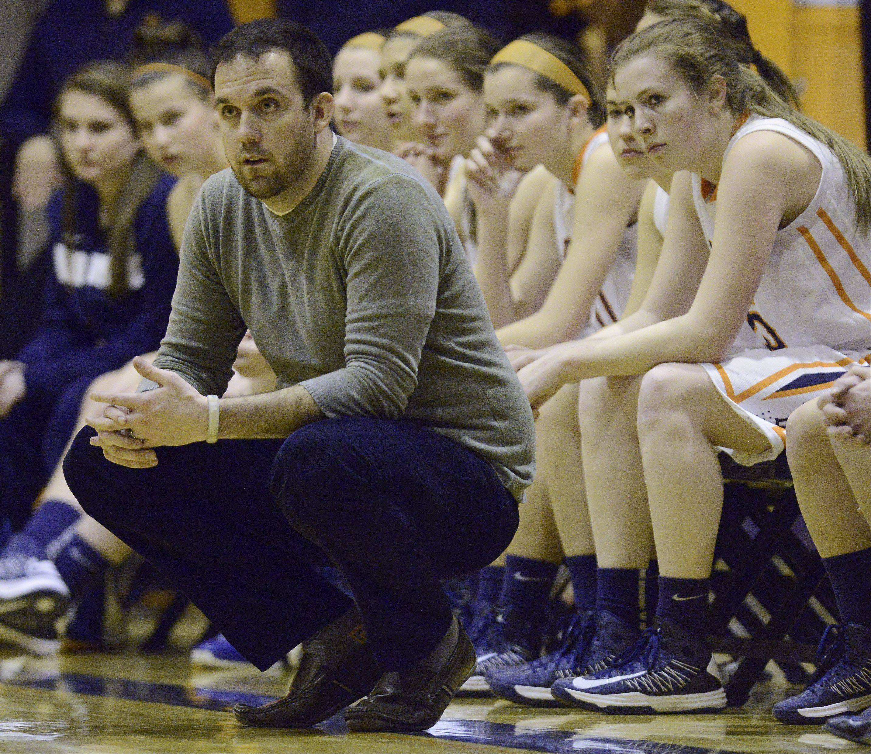 Buffalo Grove girls basketball coach Steve Kolodziej leads his team during Wednesday's game against Rolling Meadows.