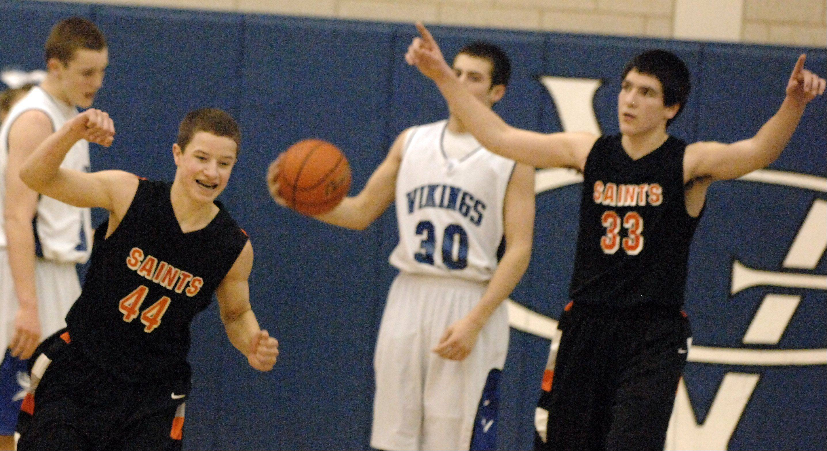 St. Charles East's Cole Gentry and Jake Asquini celebrate their double-overtime win.