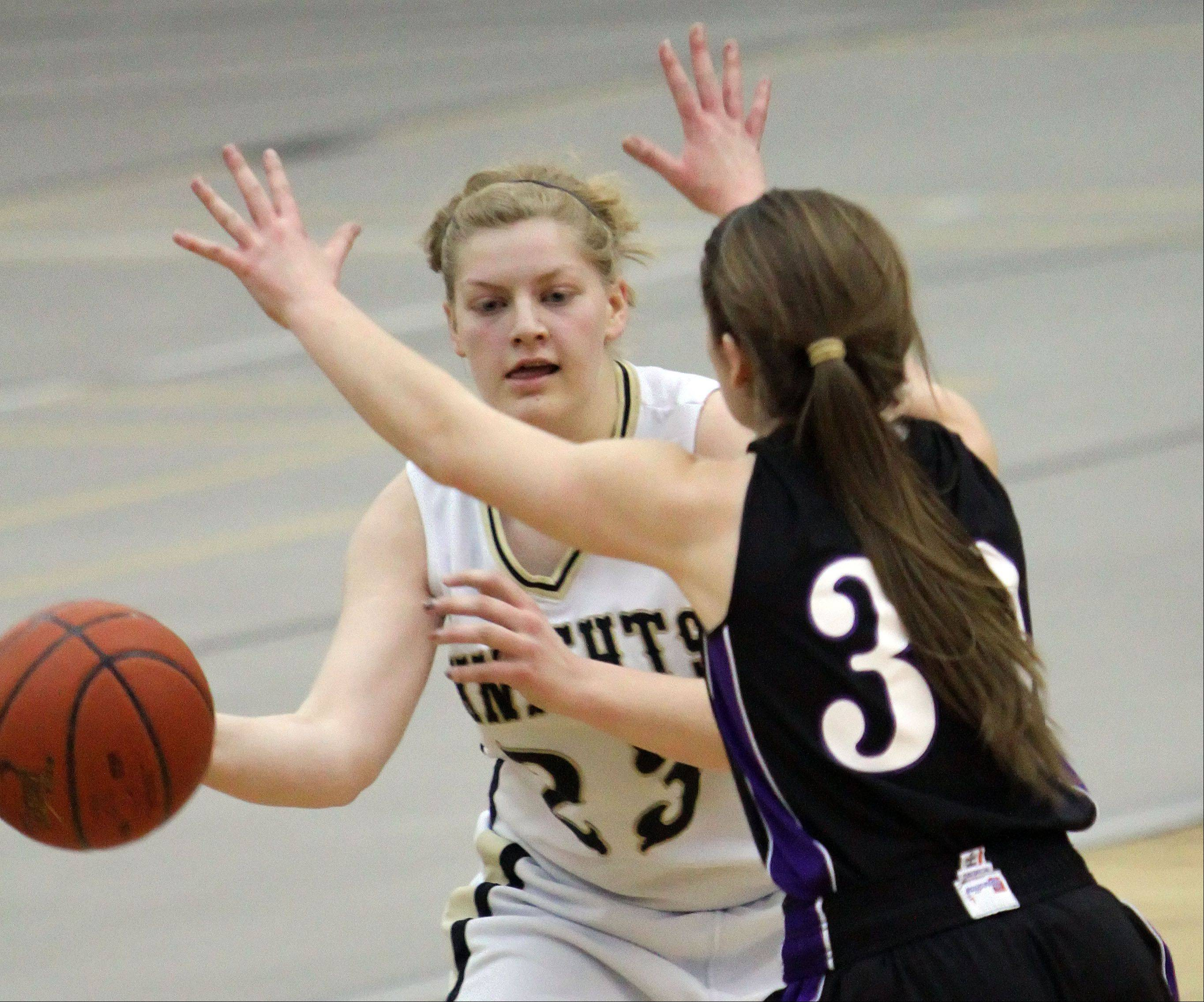 Grayslake North's Joanna Guhl, left, passes the ball around Hampshire's Tricia Dumoulin.