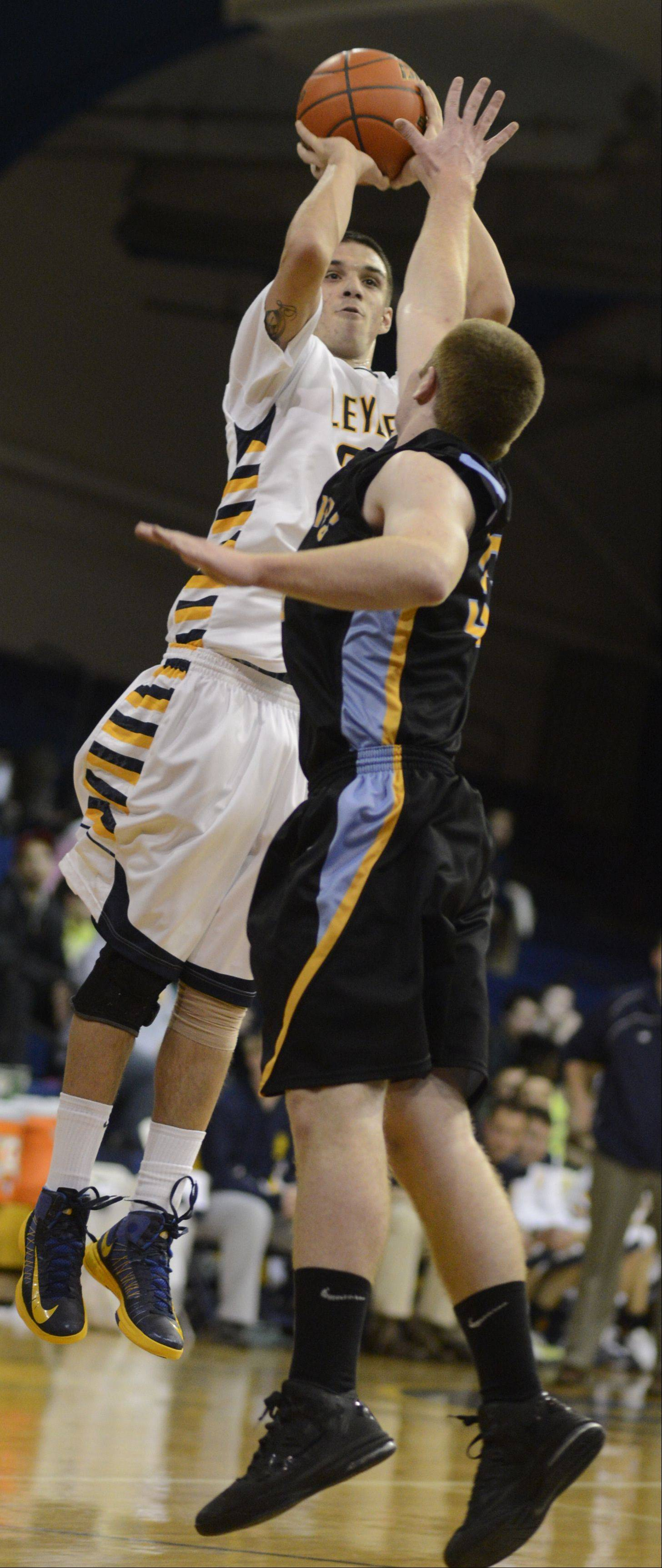 Images from the Leyden vs Maine West boys basketball game on Tuesday, February 5th, in Franklin Park.