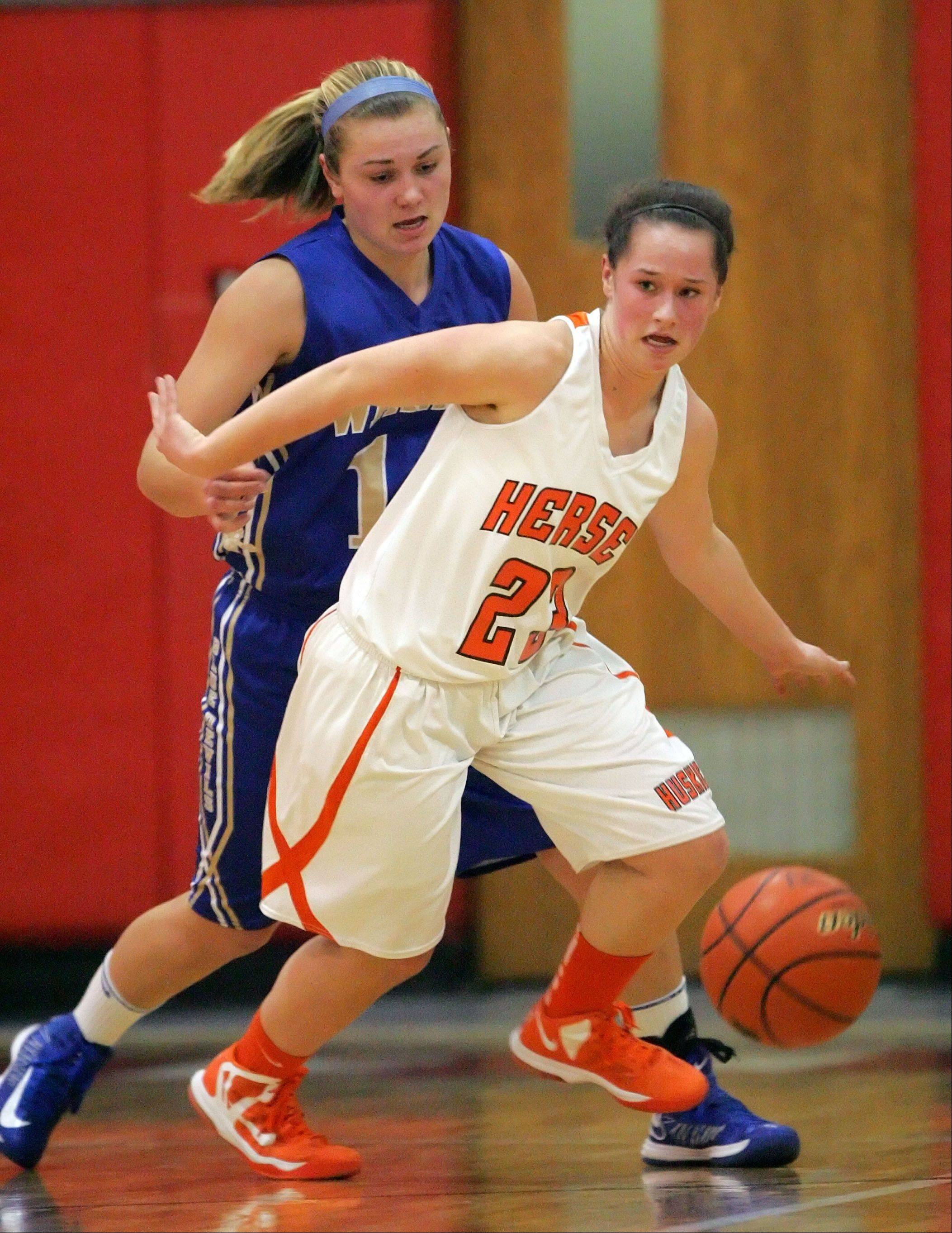 Warren's Kristen O'Brien, left and Hersey's Casey Weyhrich battle for a loose ball.