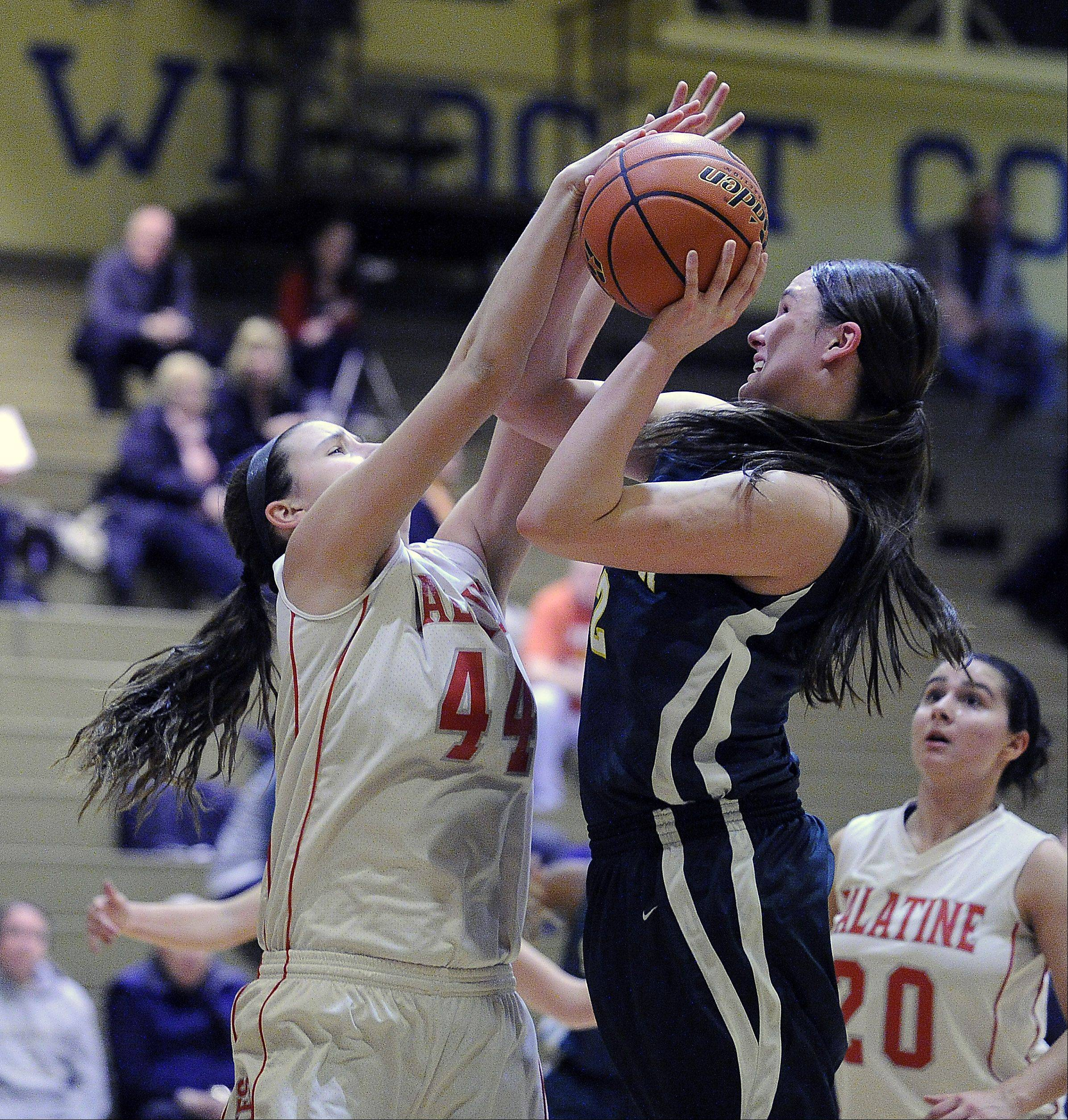 Mark Welsh/mwelsh@dailyherald.com Stevenson's Alex Elzinga is blocked by Palatine's Monica Masini while shooting at Wheeling on Thursday.