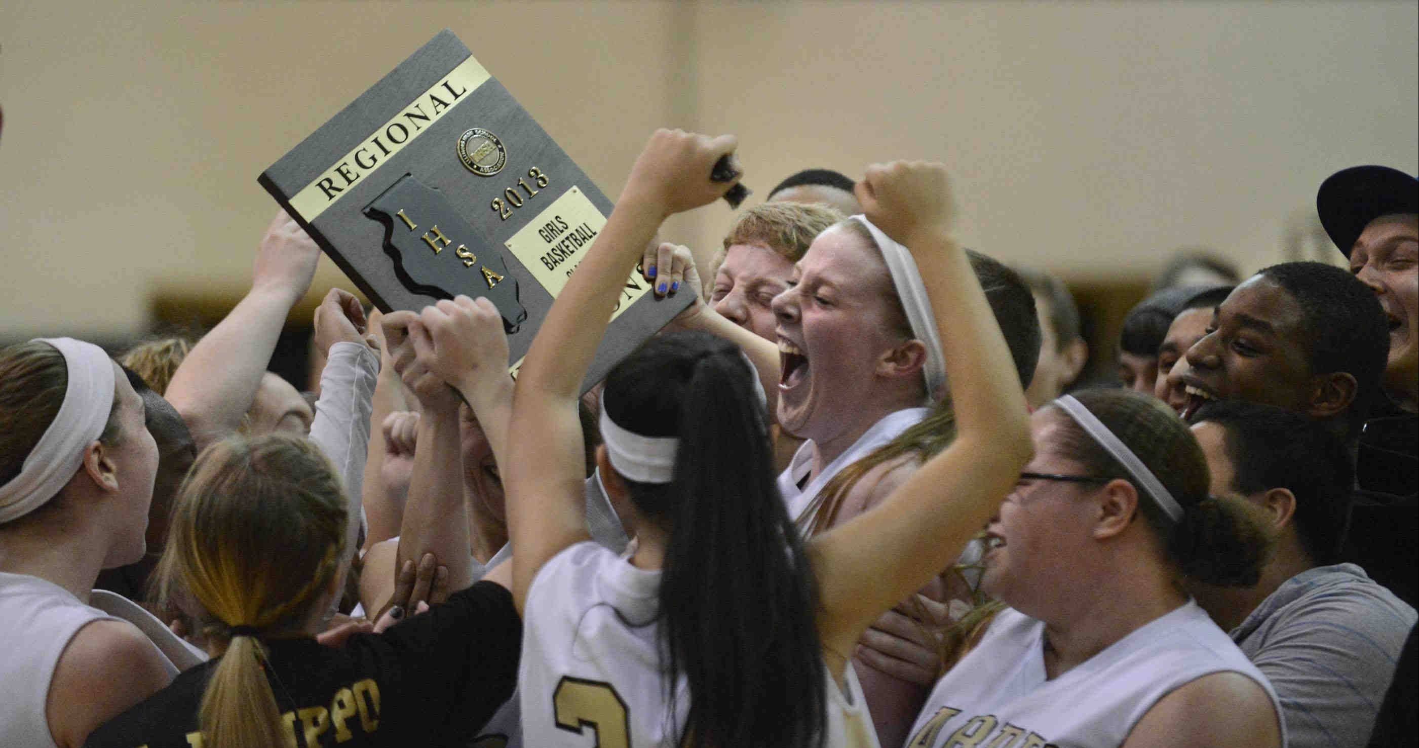 Streamwood celebrates its win over South Elgin in the Class 4A regional championship game Thursday in Streamwood. It was their first regional title since 1988.
