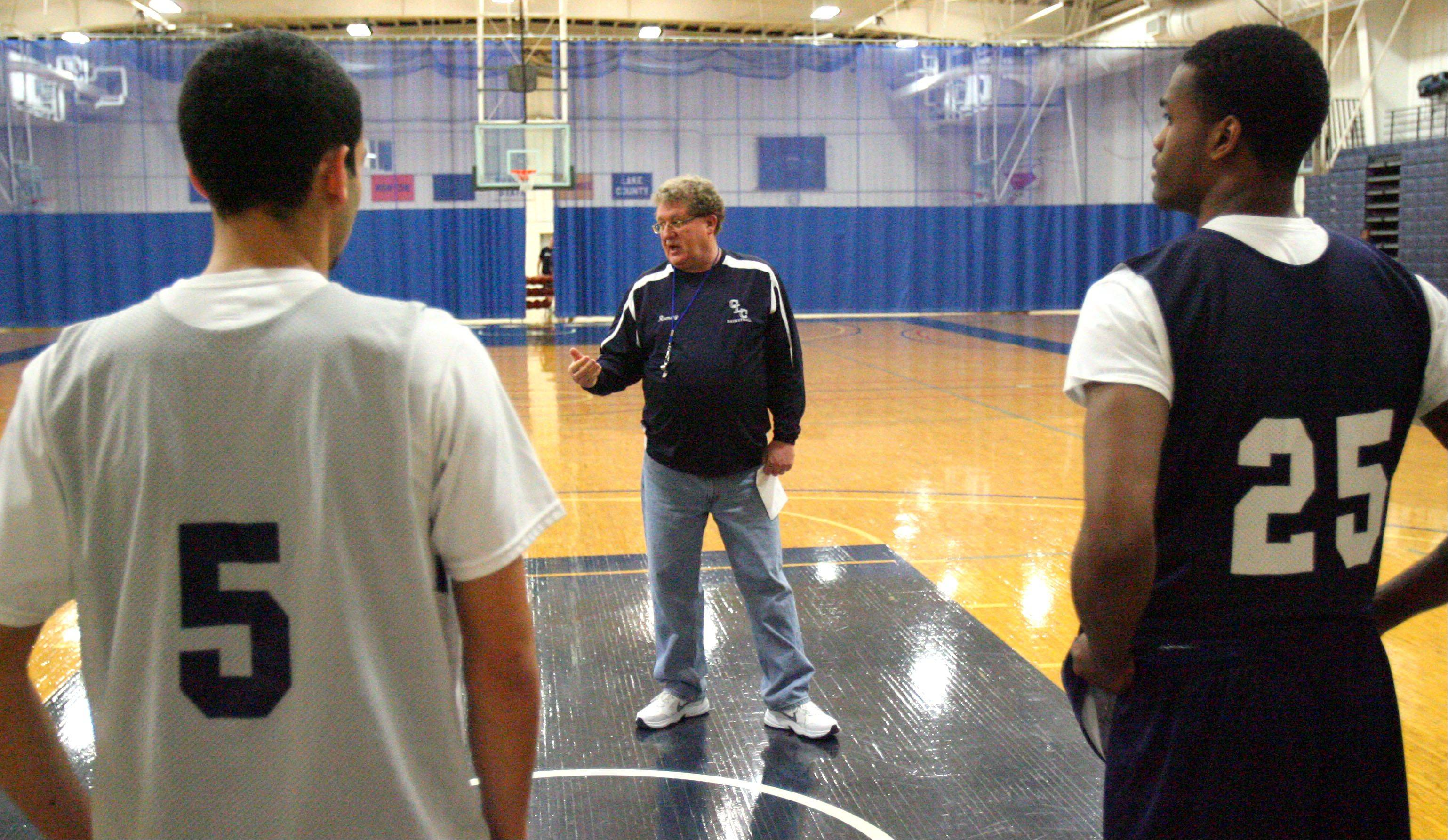 Former Warren coach Chuck Ramsey runs practice Wednesday at College of Lake County, where he's now leading the men's program.