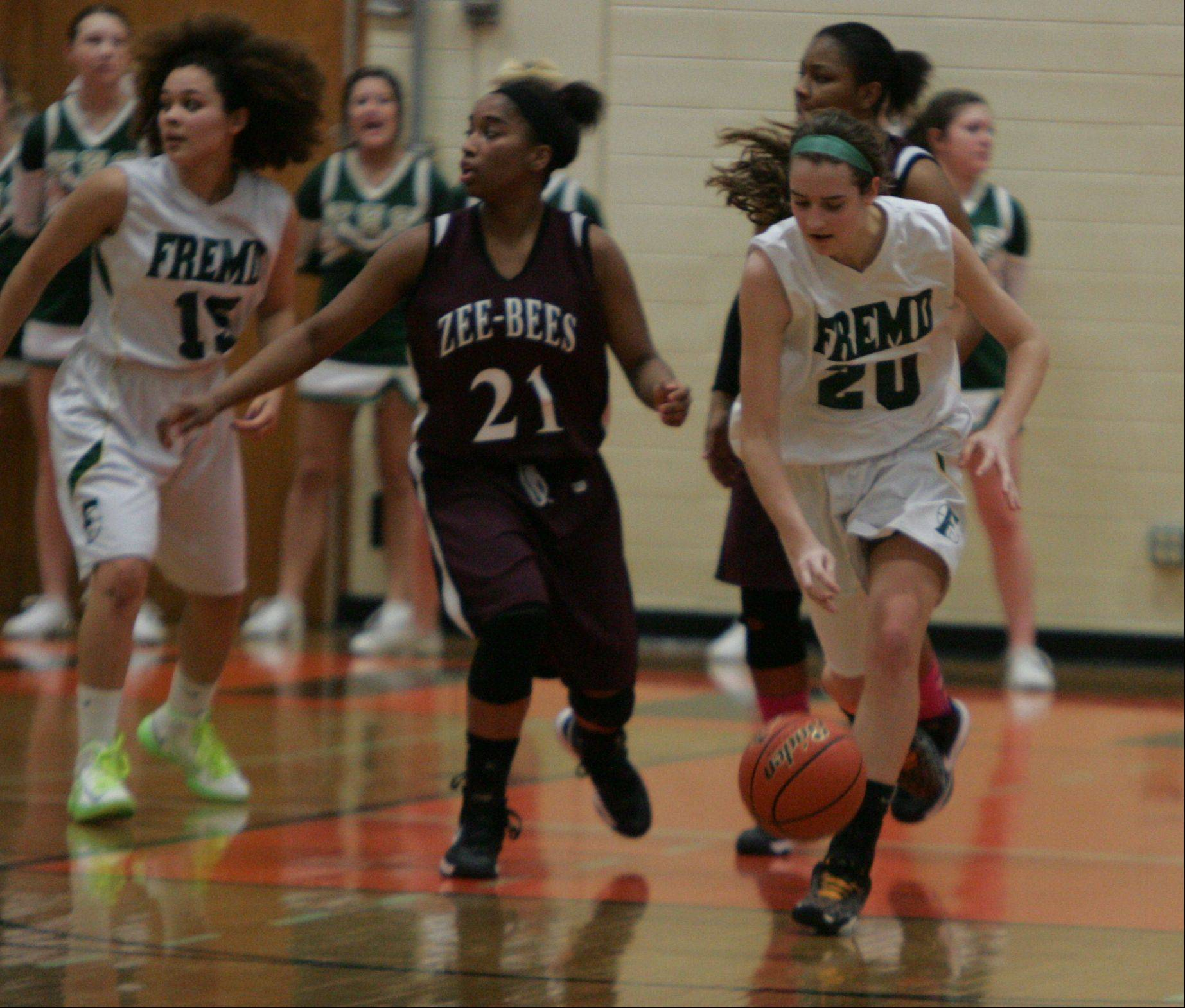 The girls basketball game between Fremd and Zion-Benton in the Class 4A sectional semifinals at Libertyville High School Monday.