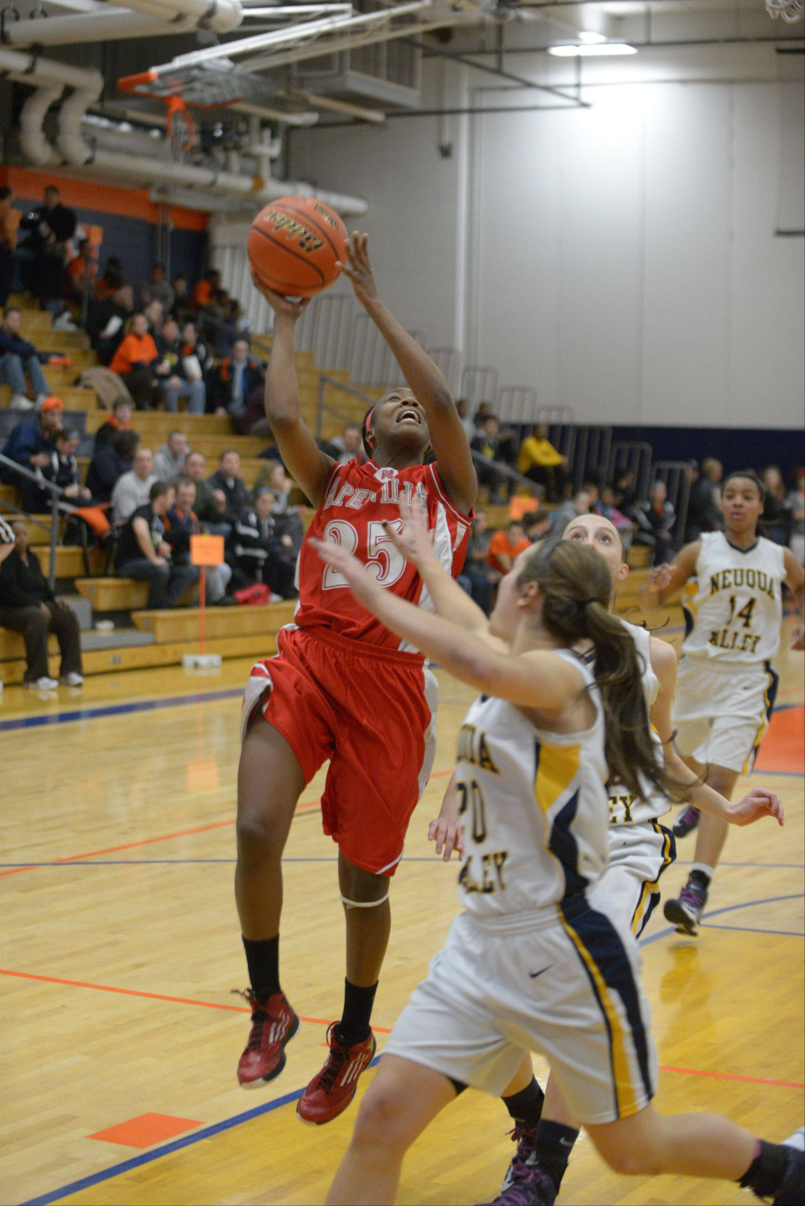 Naperville Central played Neuqua Valley in Class 4A girls basketball sectional semifinals Tuesday night at Oswego High School.