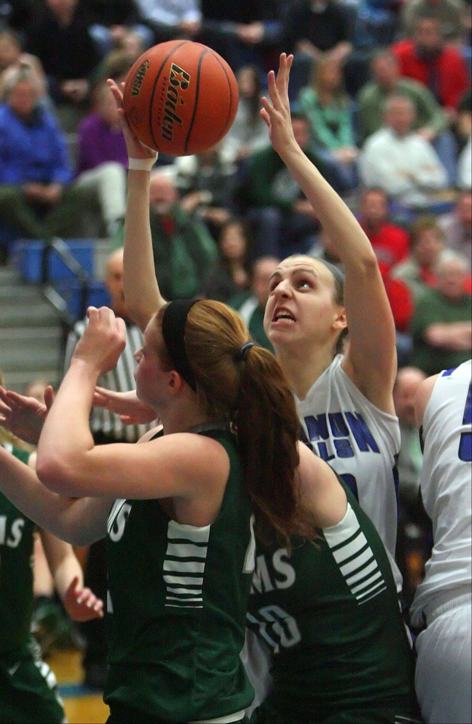 Vernon Hills' Alina Lehocky drives to the hoop.