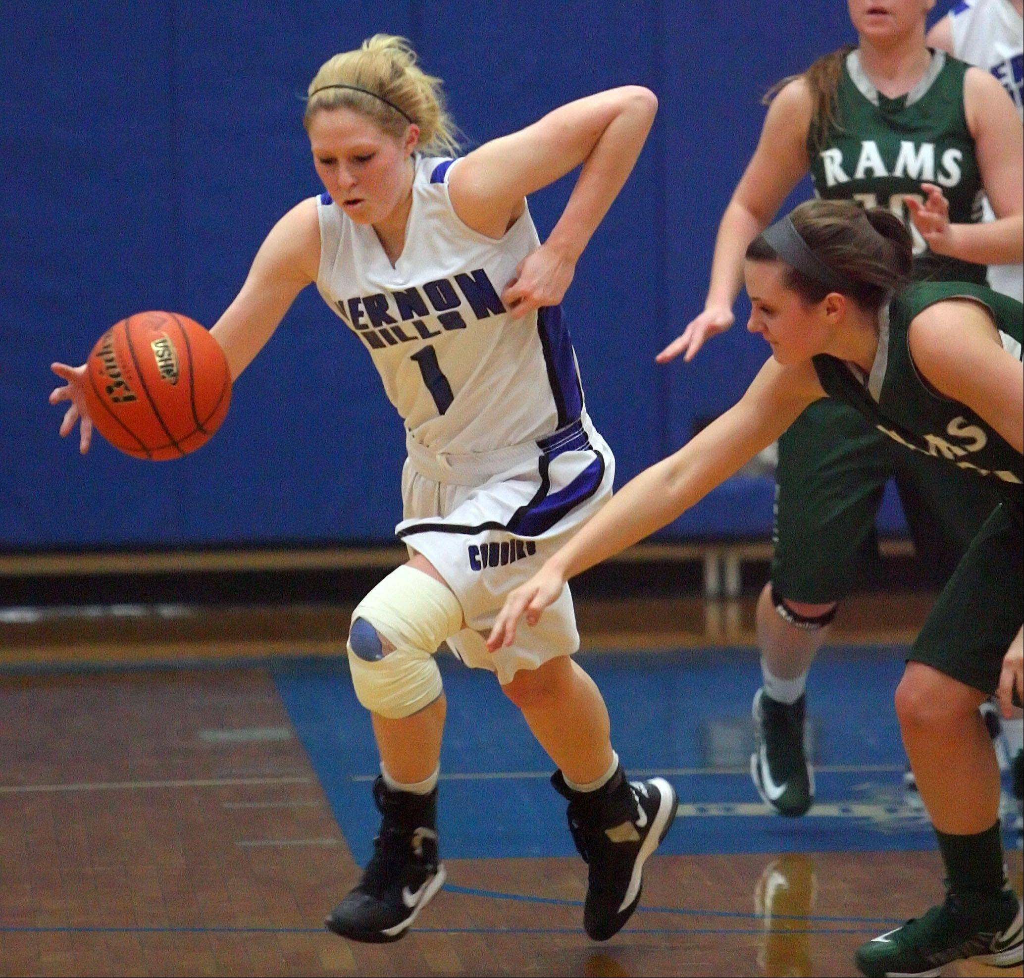 Vernon Hills' Sydney Smith, left steals the ball from Grayslake Central's Savannah Mudd.