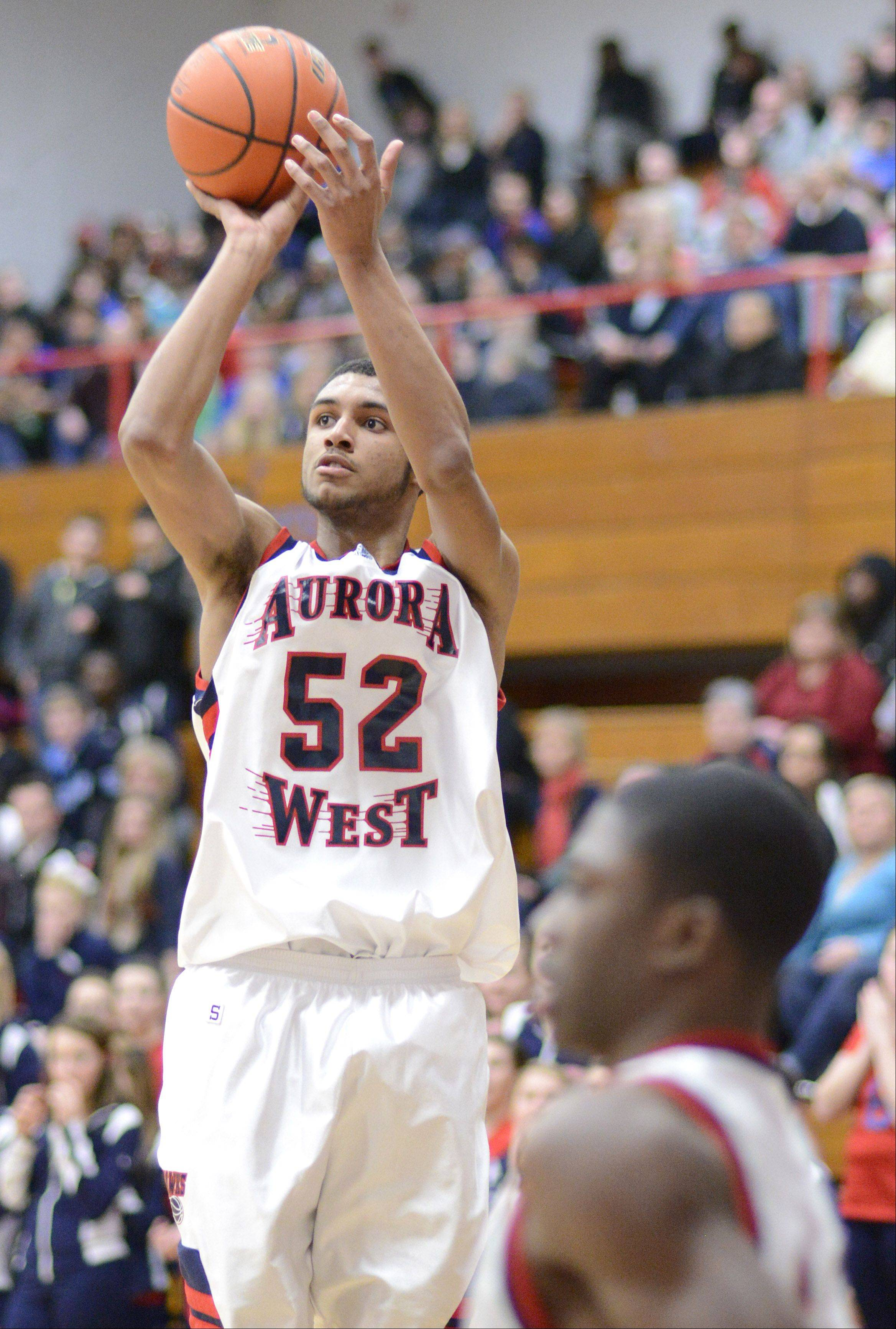 West Aurora's Joshua McAuley sinks a shot in the third quarter on Wednesday, February 20.
