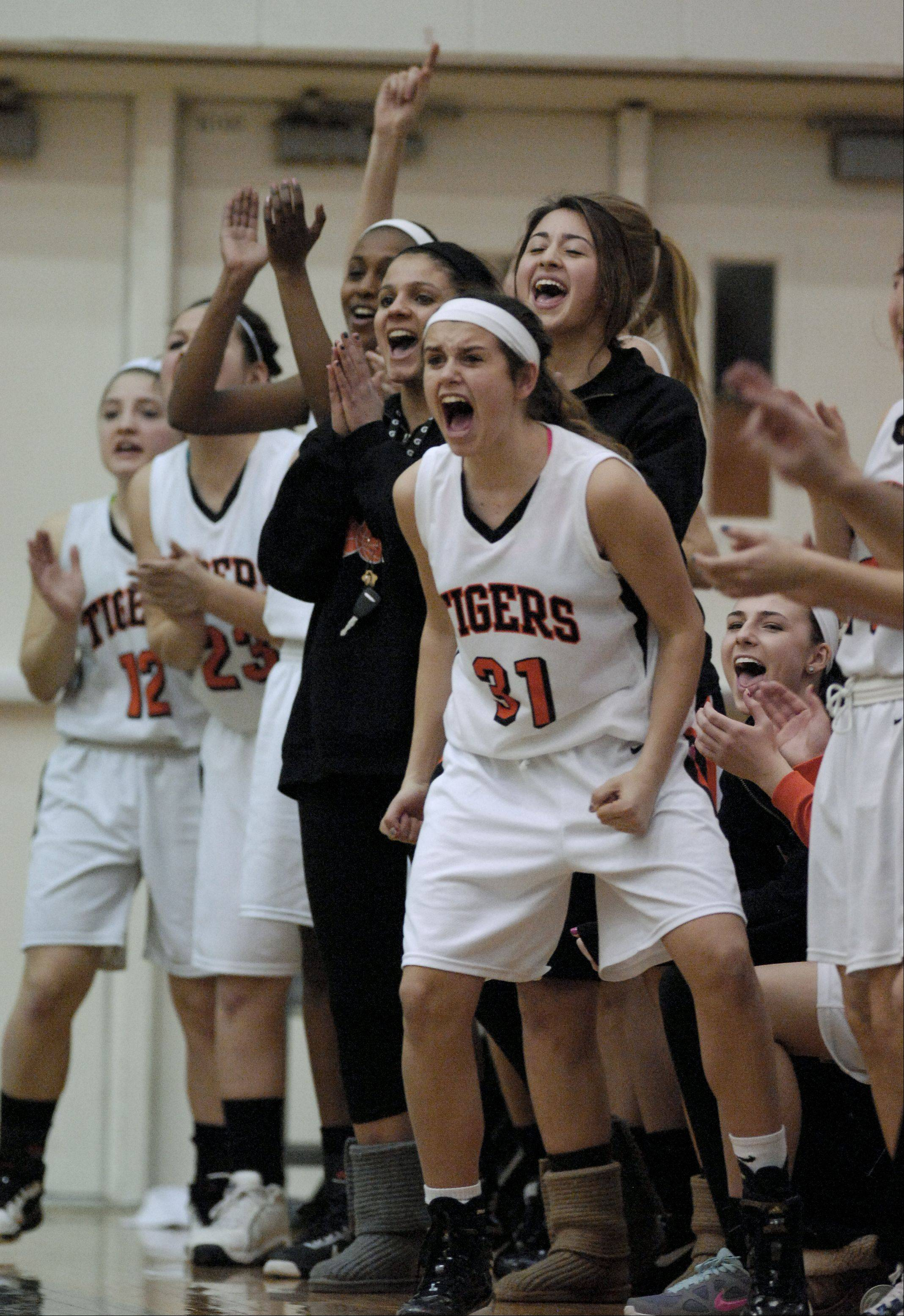 The Wheaton Warrenville South bench cheer on their teammates during the Class 4A girls basketball sectional final against Wheaton North played at Bartlett High School, Thursday.