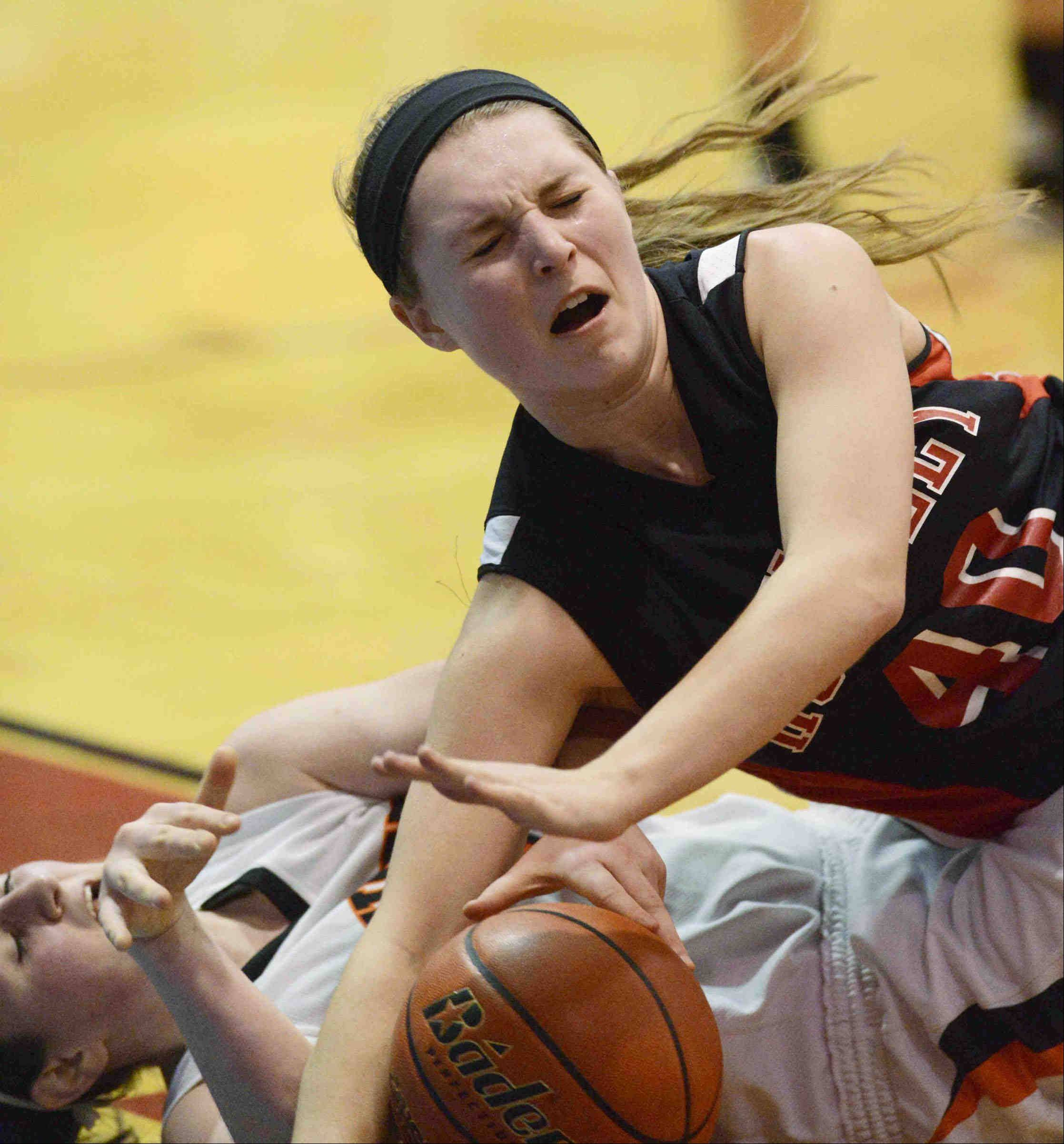 Images from the Wheaton Warrenville South vs. Huntley girls supersectional basketball game Monday, February 25, 2013 in Carpentersville.