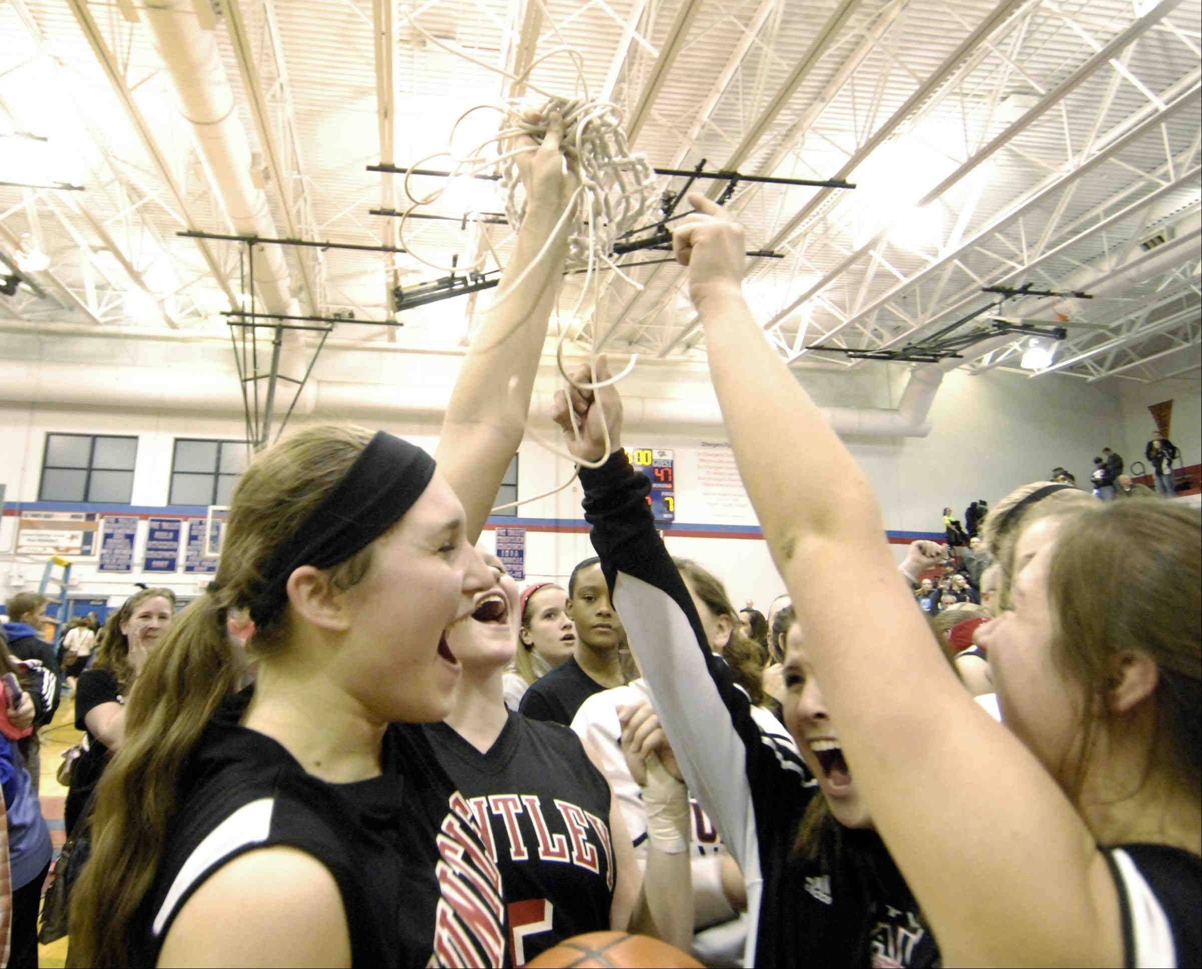 Huntley's Sam Andrews yells with teammates and fans as she holds the net after defeating Wheaton Warrenville South.