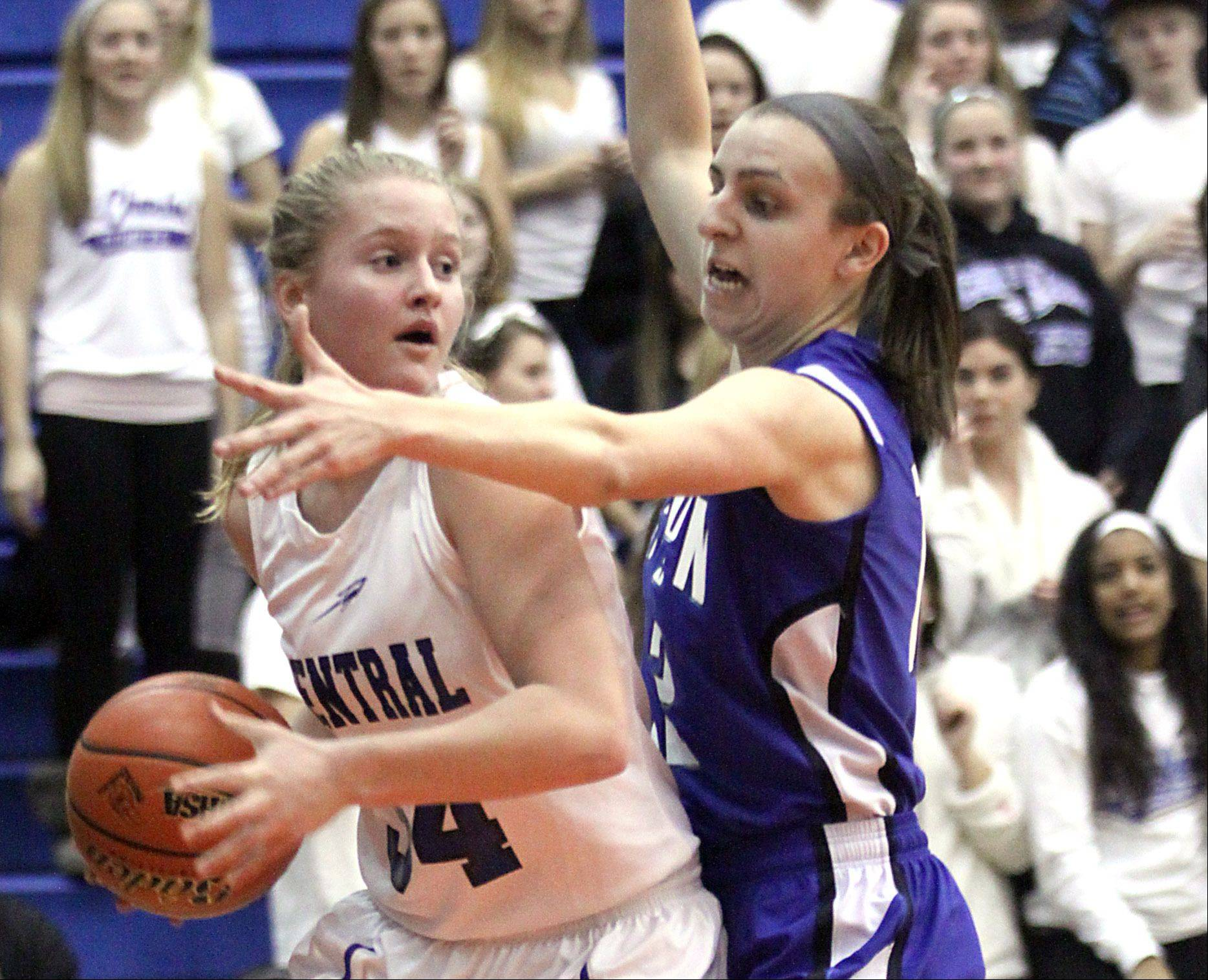 Burlington Central's Samantha Pryor, left, looks to get past Vernon Hills' Alina Lehocky, right, during a Class 3A supersectional title game at Hoffman Estates High School on Monday night. Central lost 39-31 to Vernon Hills.