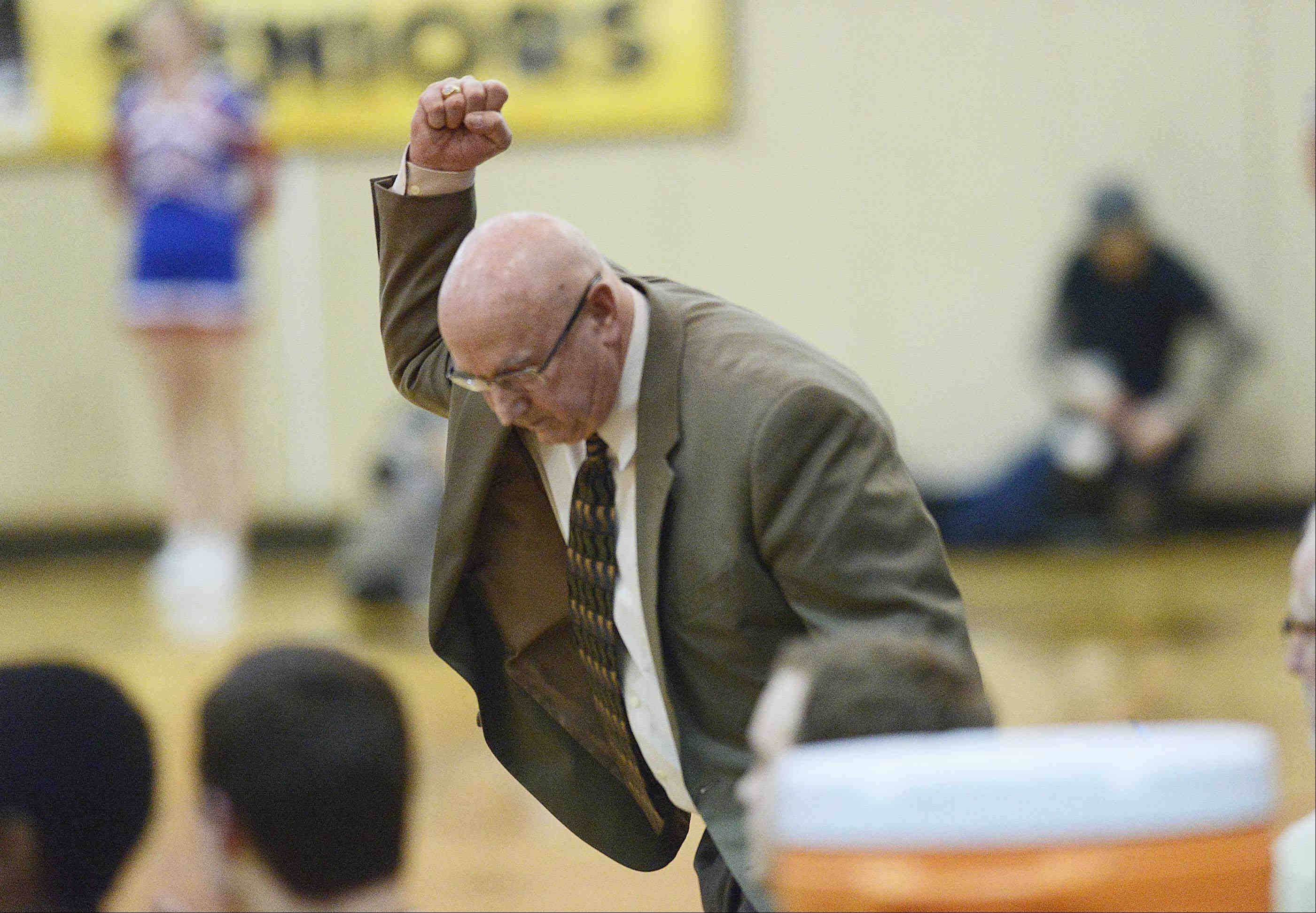 Jacobs' head coach Jim Hinkle pumps his fist near the end of the game.