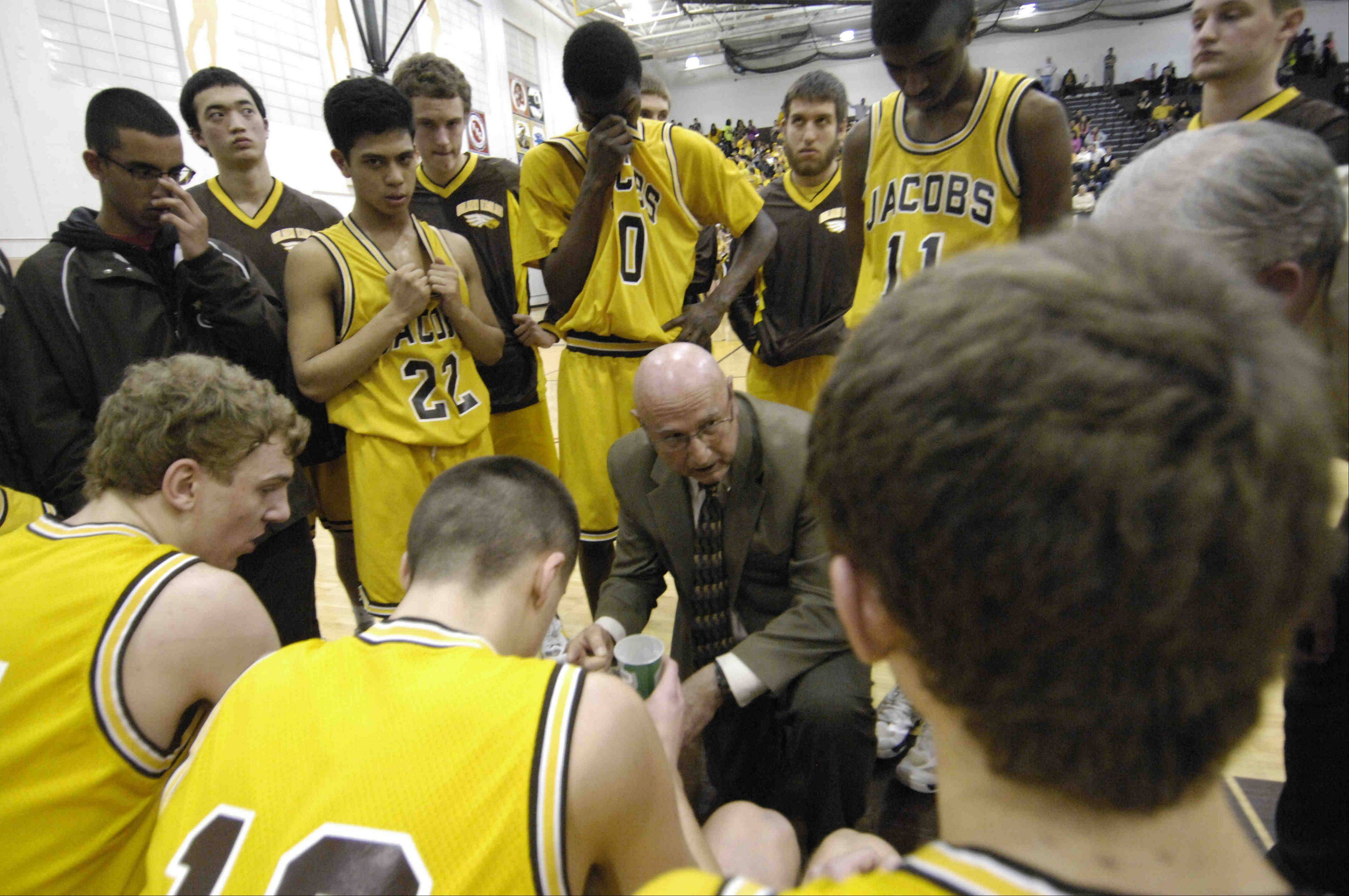 The Jacobs boys basketball team hopes to extend the career of retiring coach Jim Hinkle tonight when the Golden Eagles face Crystal Lake Central in the Class 4A Jacobs regional final.