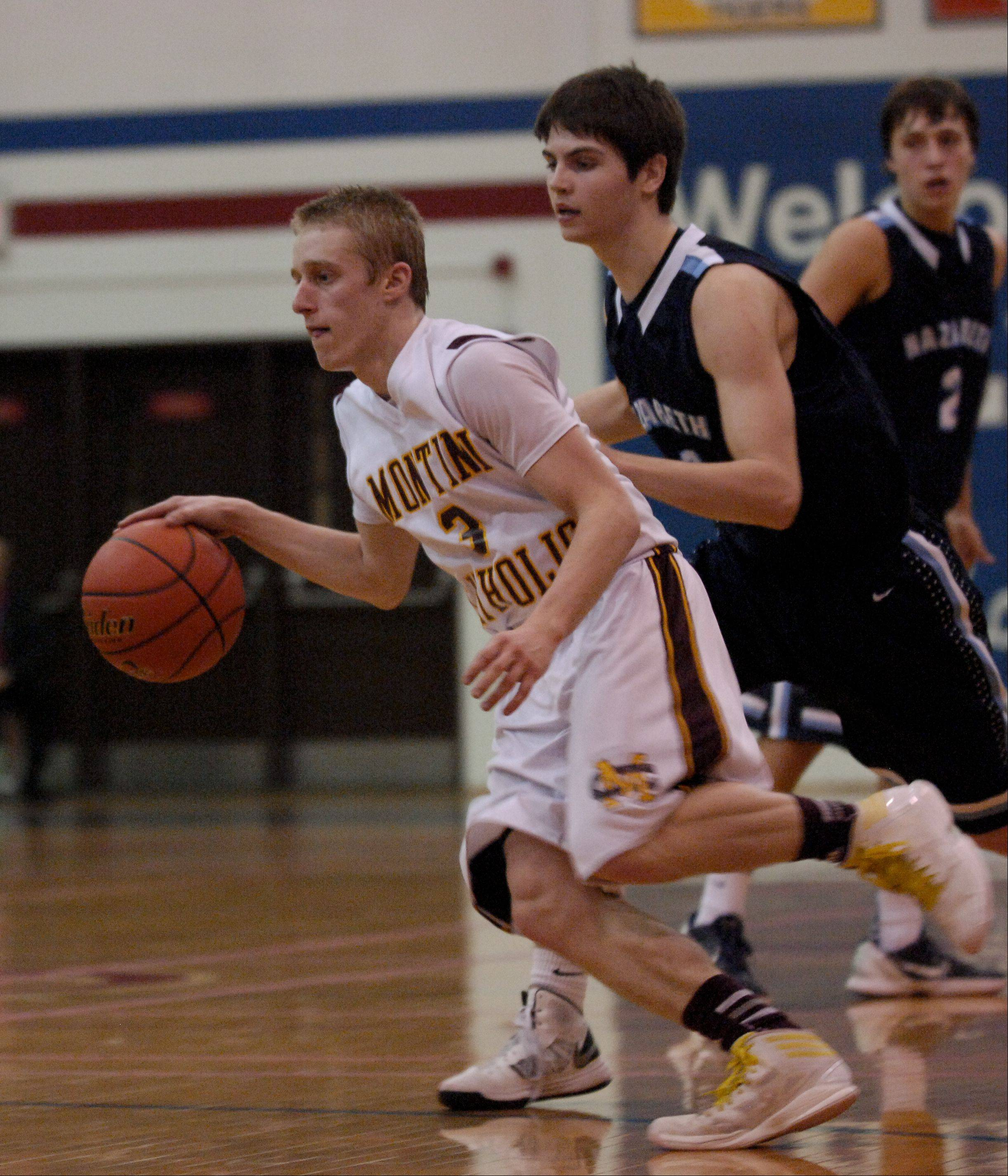 Logan Goss of Montini drives with the ball.
