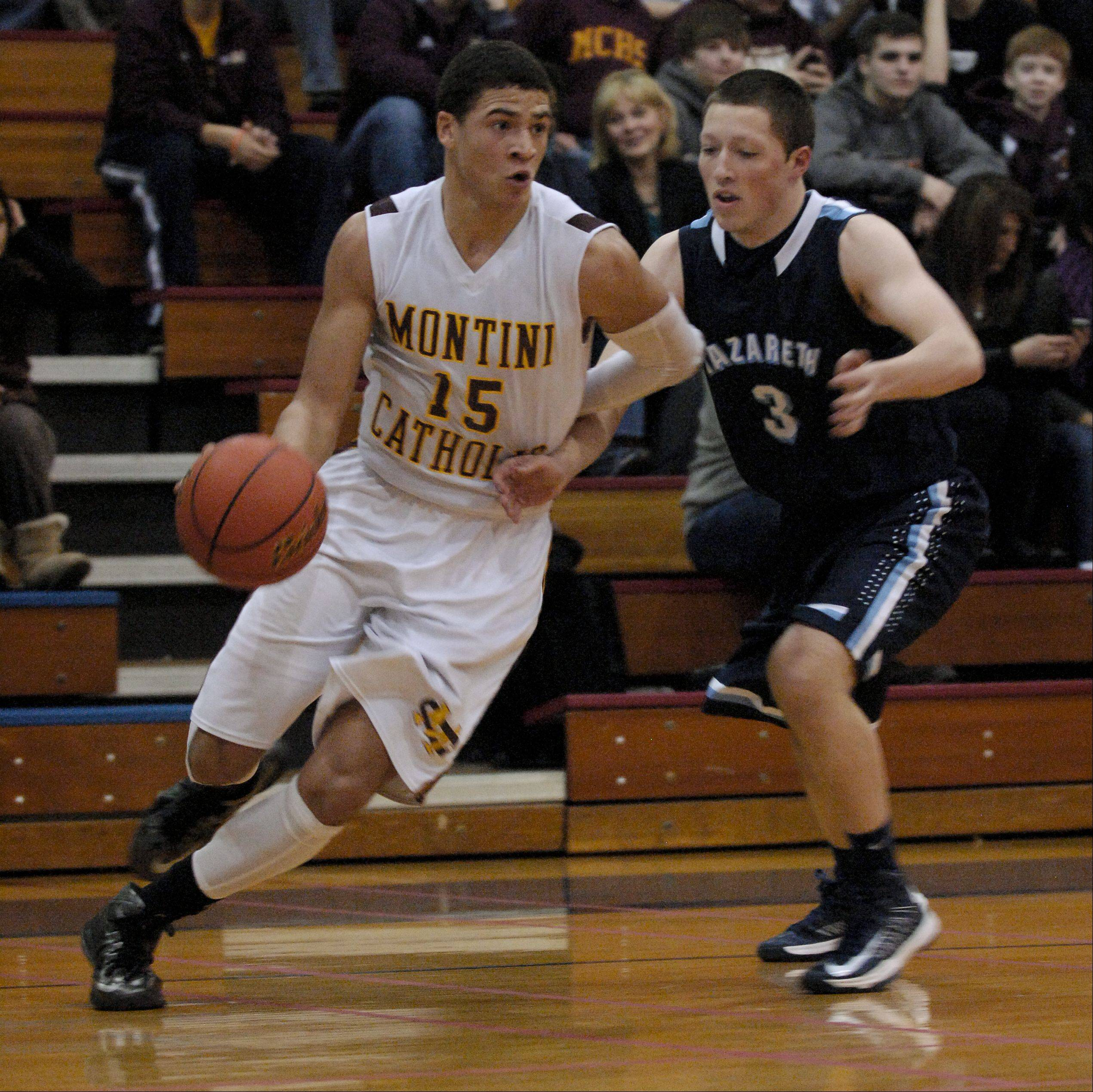 Simmie Cobbs of Montini drives around Joe McLaughlin of Nazareth.