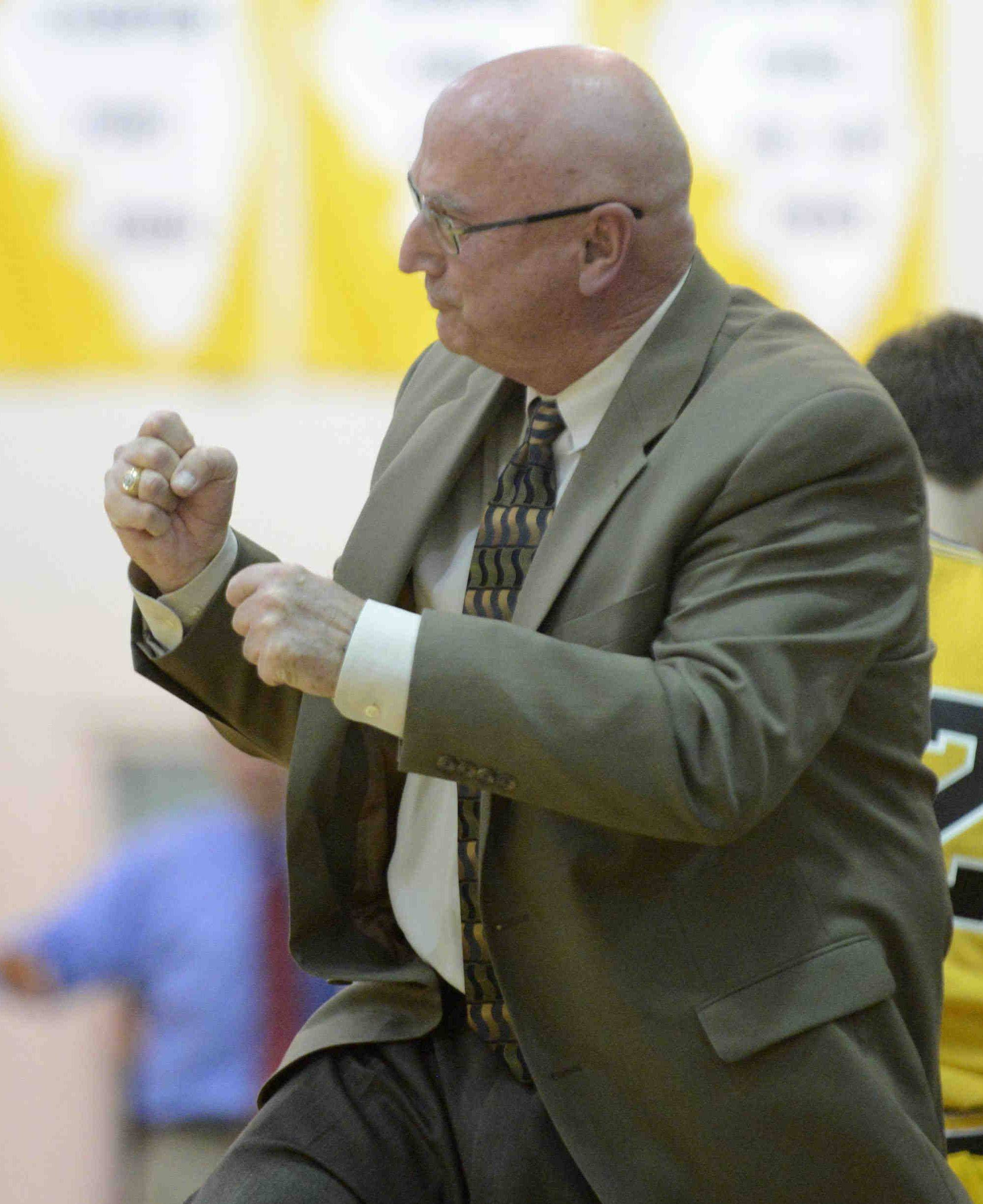Jacobs coach Jim Hinkle reacts near the end of the game against Dundee-Crown in the Class 4A Jacobs regional Wednesday.