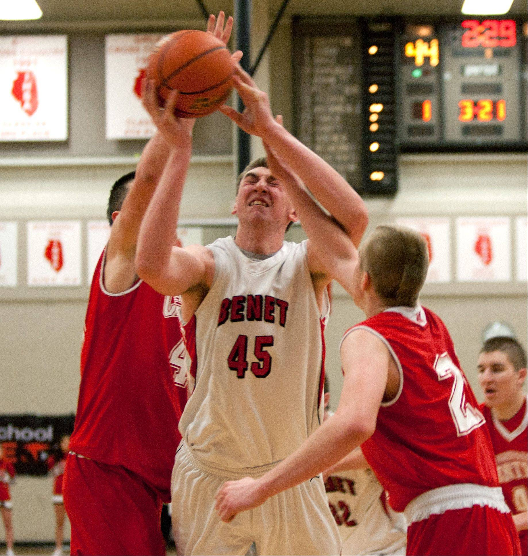 Benet's Sean O'Mara drives to the basket.