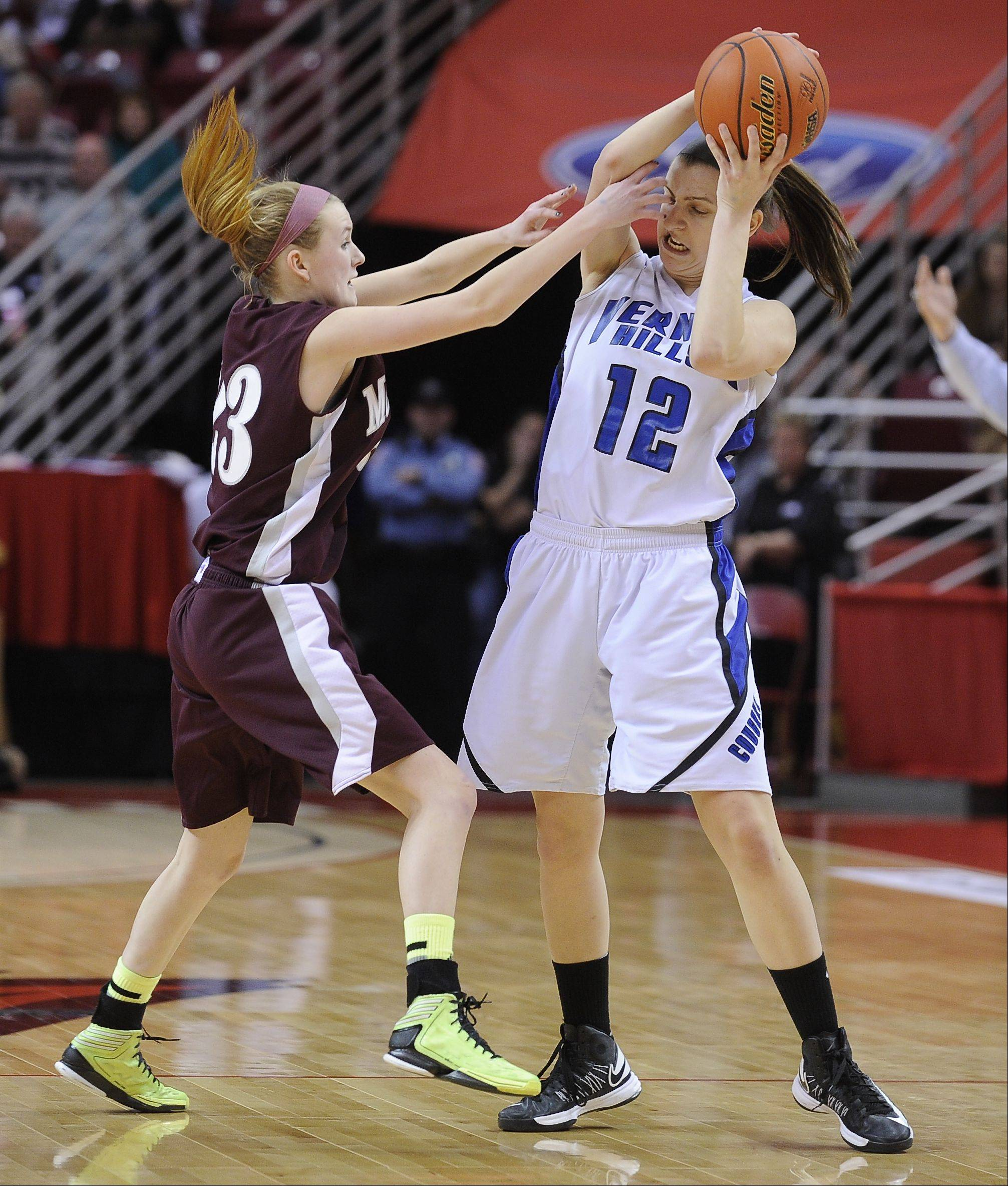 Images from the Vernon Hills vs. Montini in the IHSA Class 3A girls state basketball semifinal on Friday, Mar. 1 at the Redbird Arena in Normal.