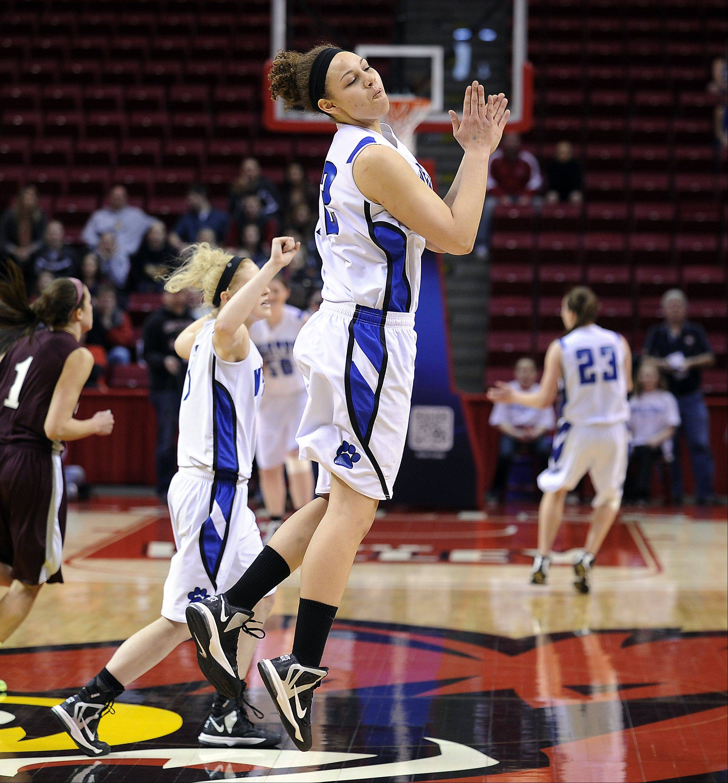 Vernon Hills Lauren Webb jumps for joy with the rest of her teammates in their overtime win against Montini in the class 3A semifinal game Friday in Normal.