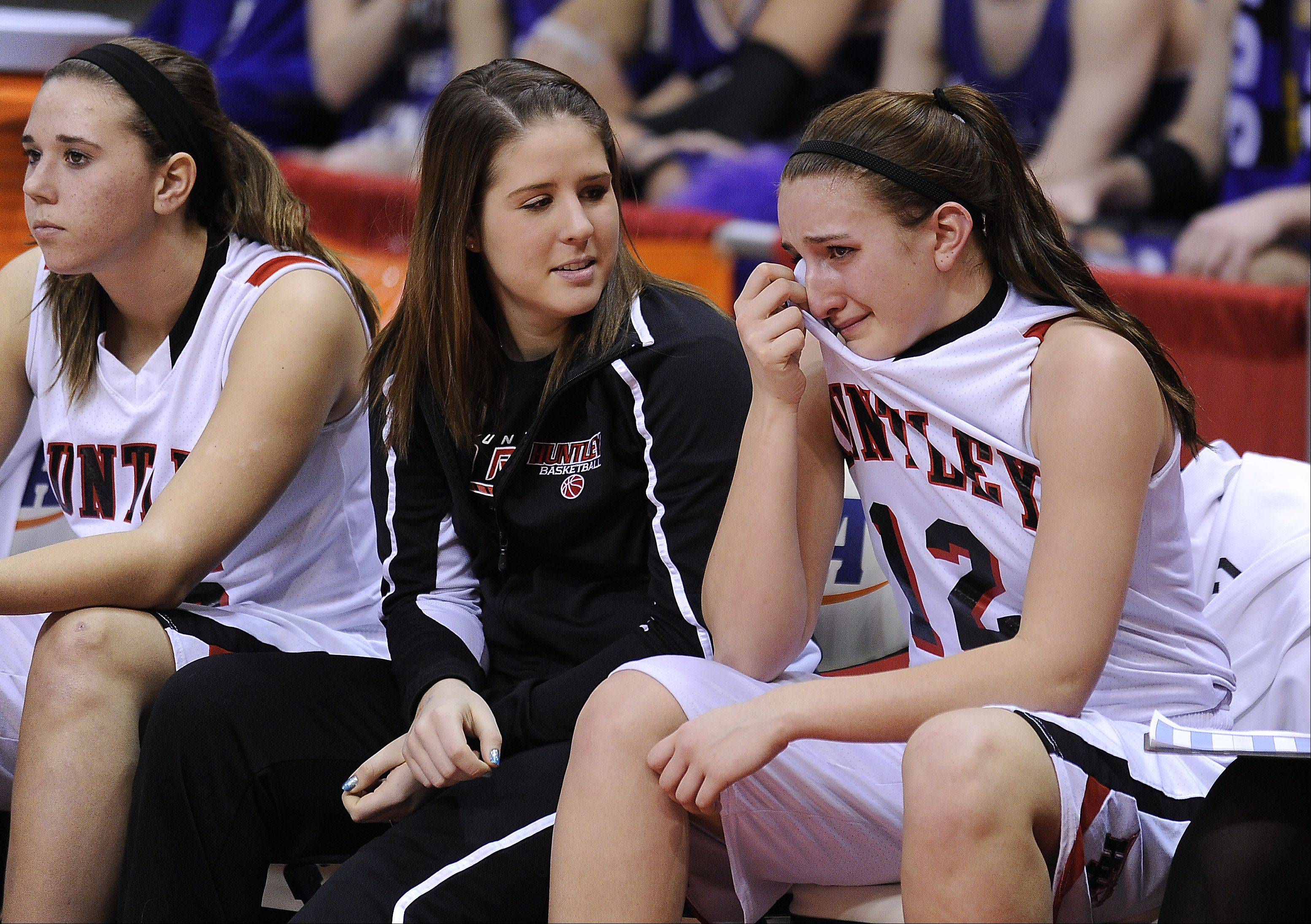 Huntley senior Haley Ream shows her emotions as the clock run on out against Whitney Young in the Class 4A third-place game Saturday in Normal.