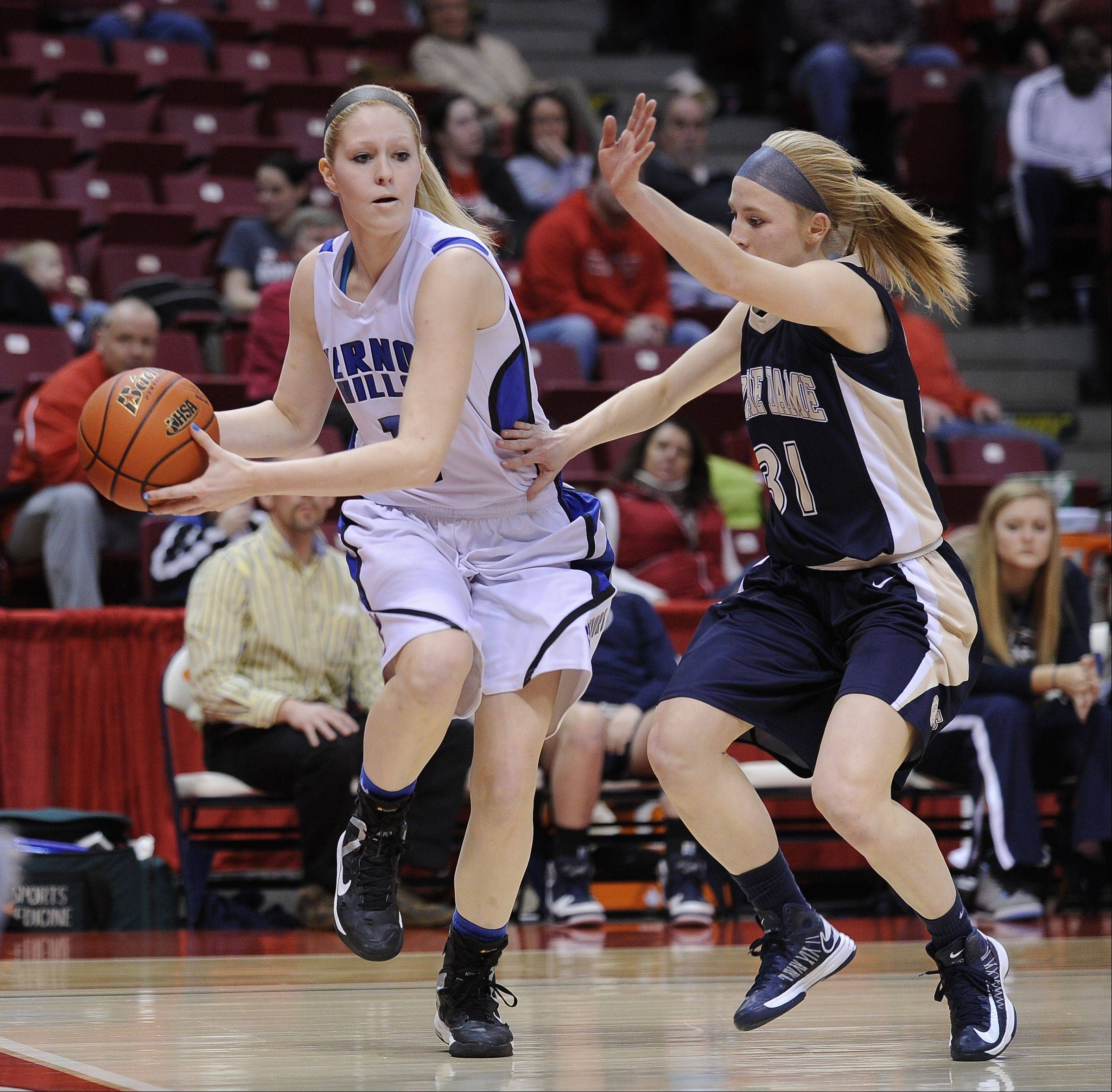 Images from the Vernon Hills vs. Notre Dame Class 3A girls state basketball championship on Saturday, Mar. 2 at the Redbird Arena in Normal.