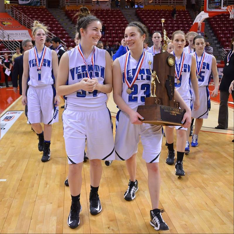 Vernon Hills' Brie Bahlmann (right) and teammate Shannon Healey are all  smiles as