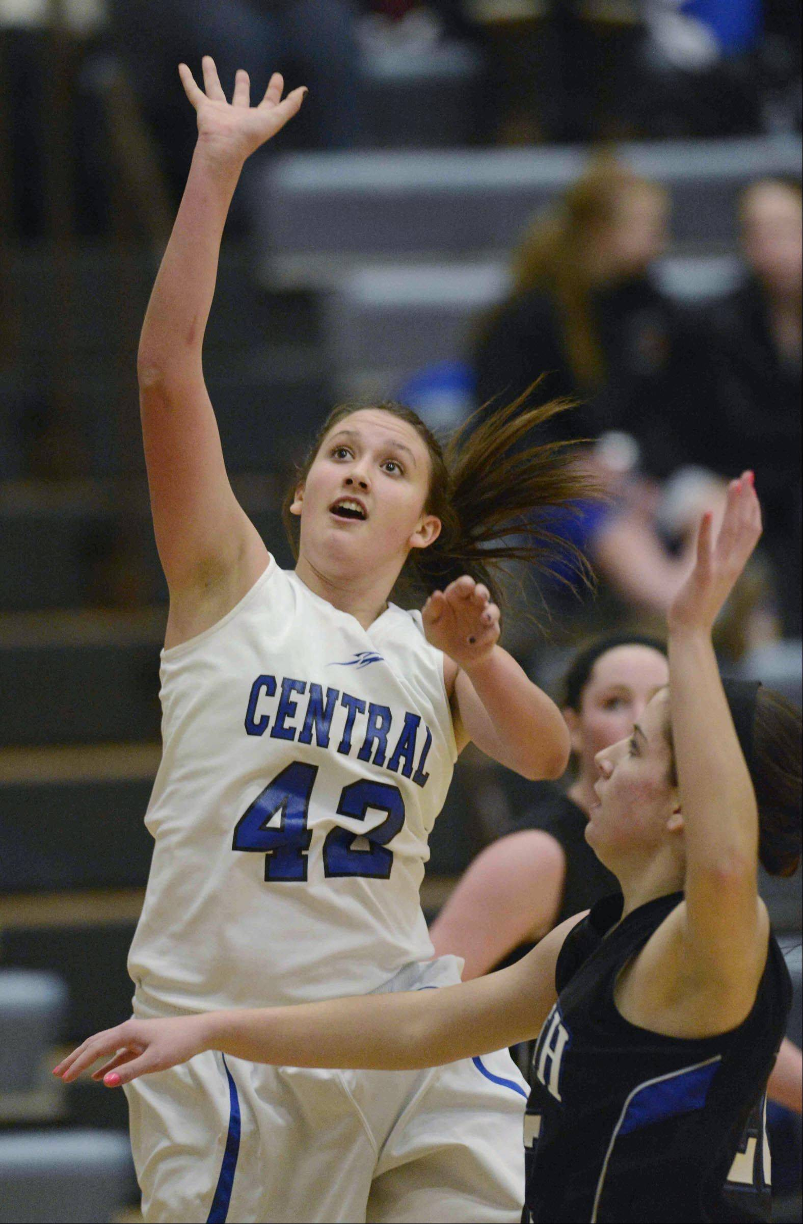 Burlington Central sophomore Alison Colby (42) puts up a shot against Hampshire in regional play this season. The Rockets, coming off a 27-5 season that ended with a supersectional loss to eventual Class 3A state runner-up Vernon Hills, have accepted an invitation to play in the prestigious Charger Classic Christmas Tournament at Dundee-Crown next season.