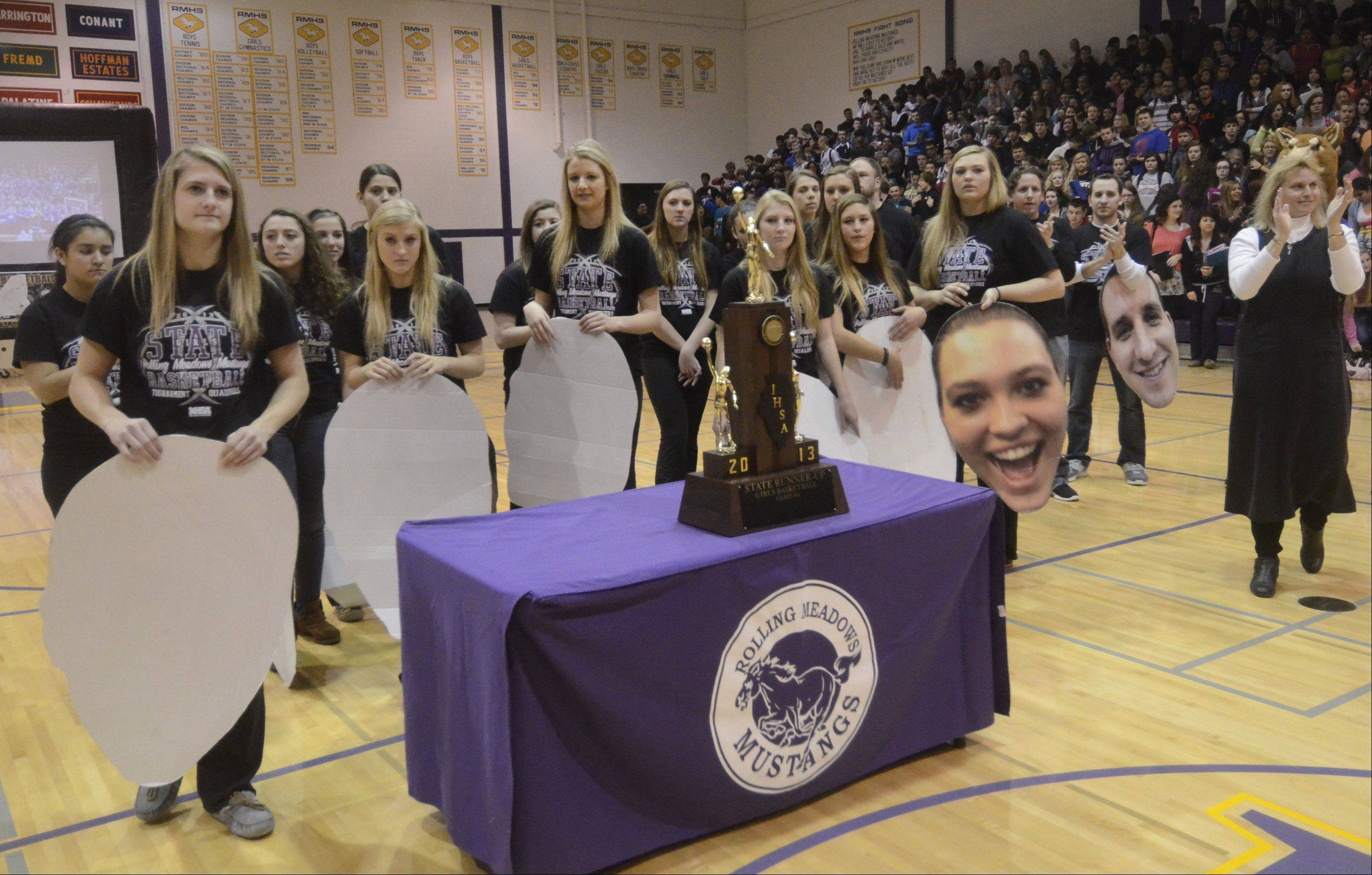 Rolling Meadows High School celebrated its state runner-up girls basketball team Monday morning. The team is returning nearly all of its players next year, giving hope for another run for the state title.