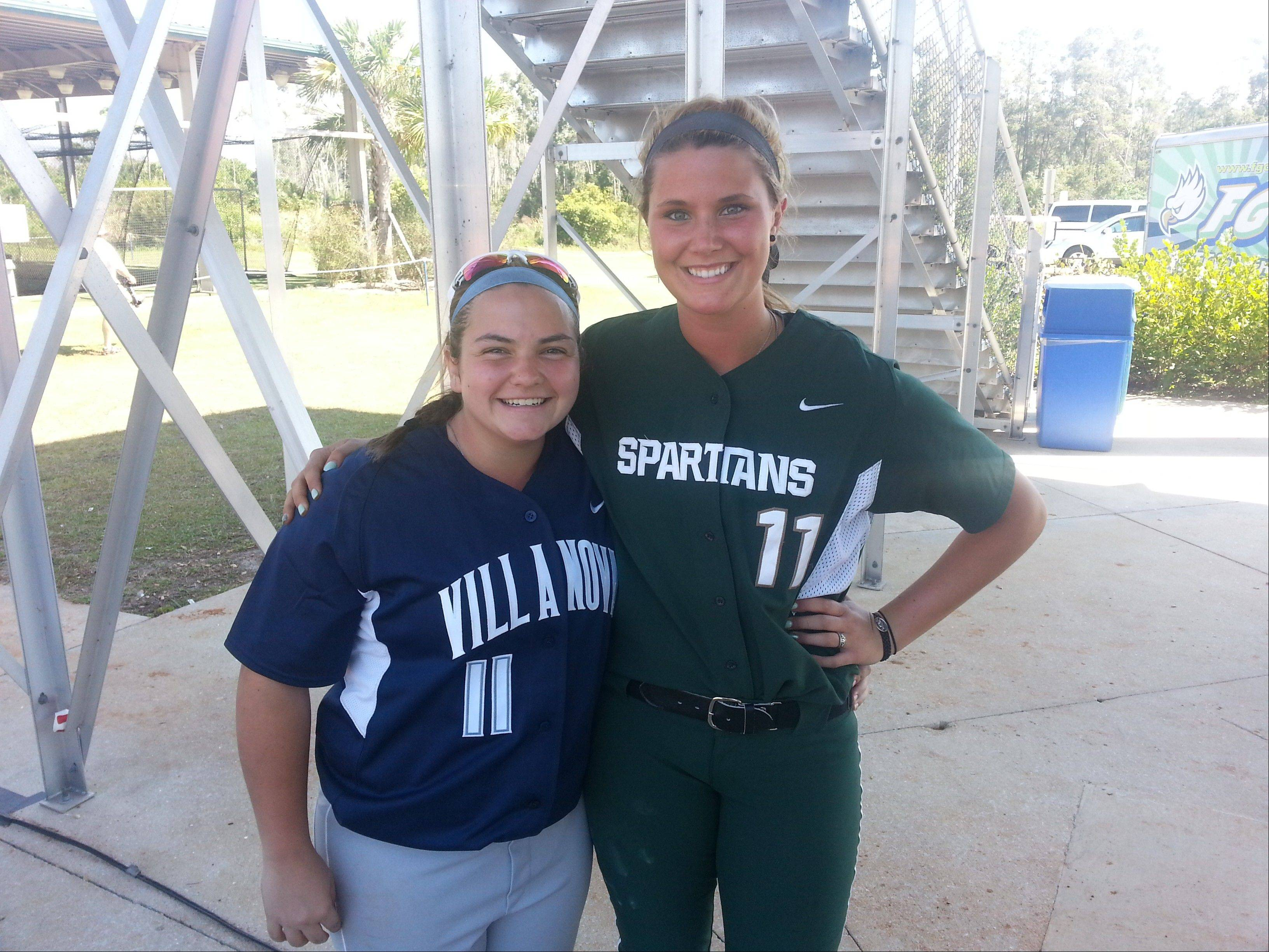 Former Elk Grove High School teammates Carly Danek, left, and Dani Goranson found themselves on opposing squads for a recent NCAA Division I softball contest between Villanova and Michigan State.