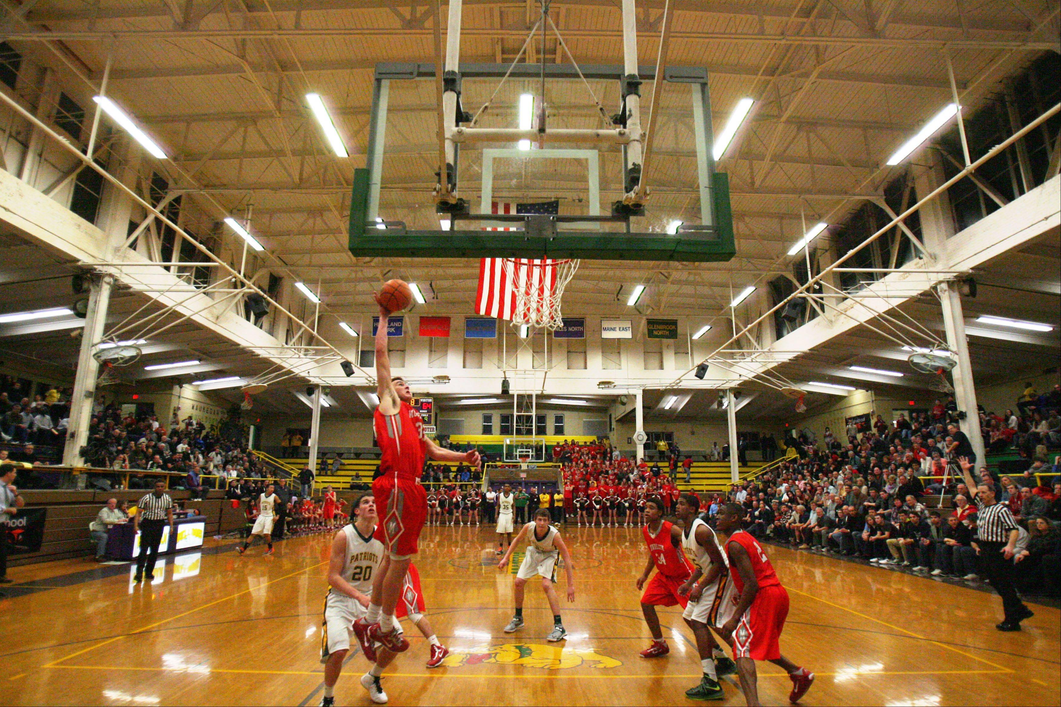 Images from the Stevenson Patriots vs. the Mundelein Mustangs in the Class 4A Waukegan sectional semifinal boys basketball game on Wednesday, March 6 at Waukegan High School.