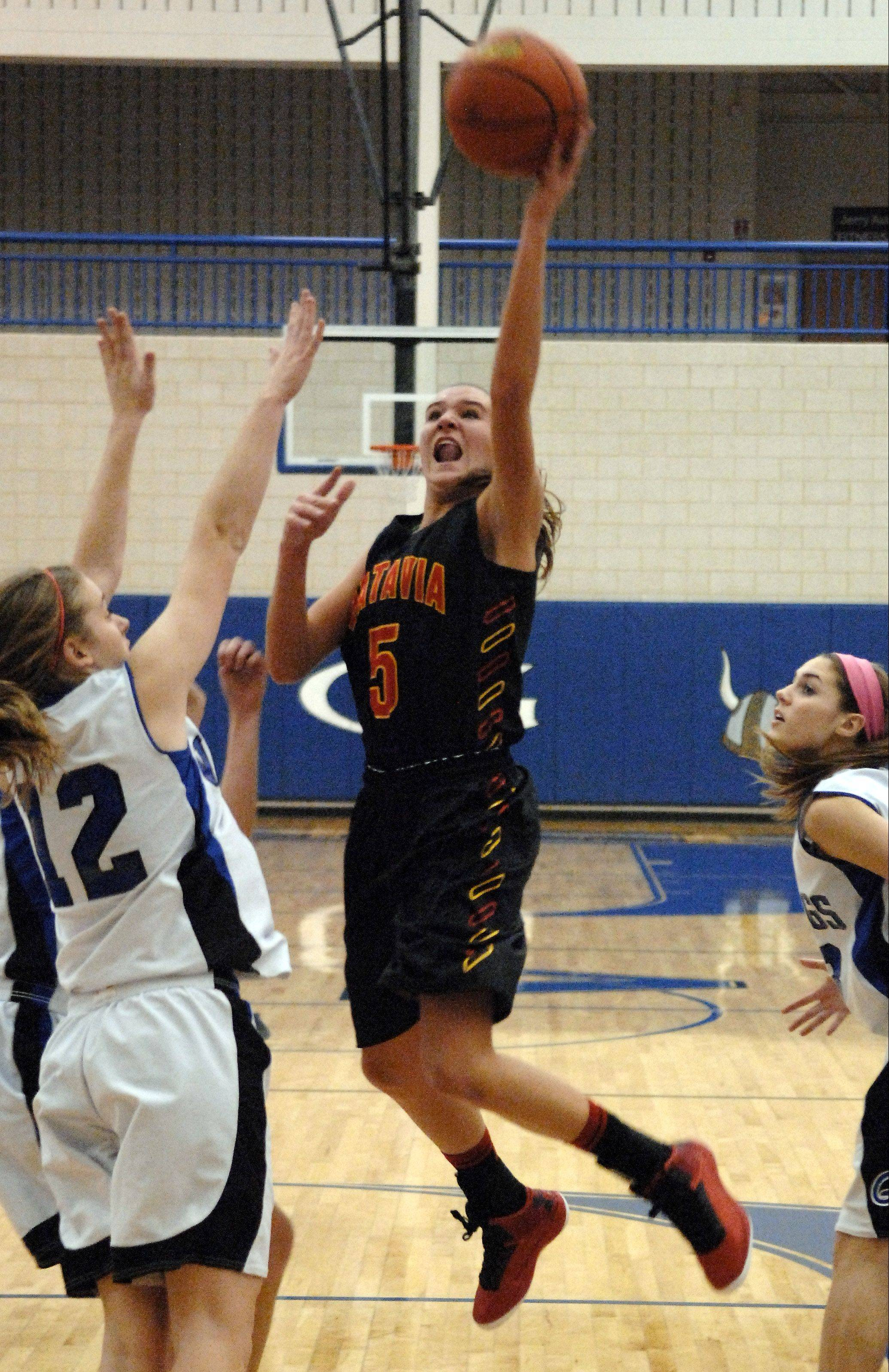 Batavia's Liza Fruendt led the area in scoring with drives to the basket like this and also by draining 80 3-point baskets.